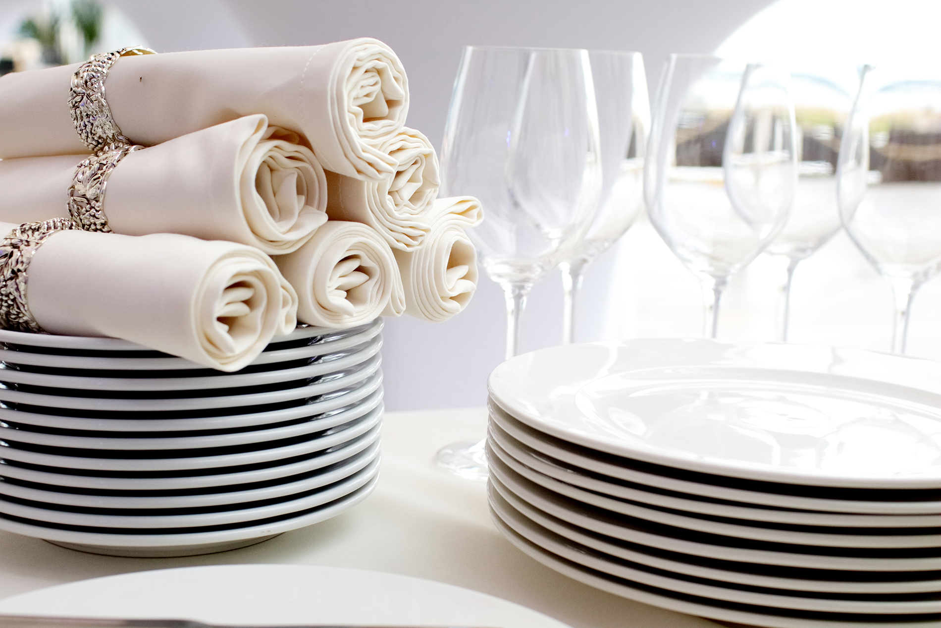 Goblets and neat stacks of plates 53466