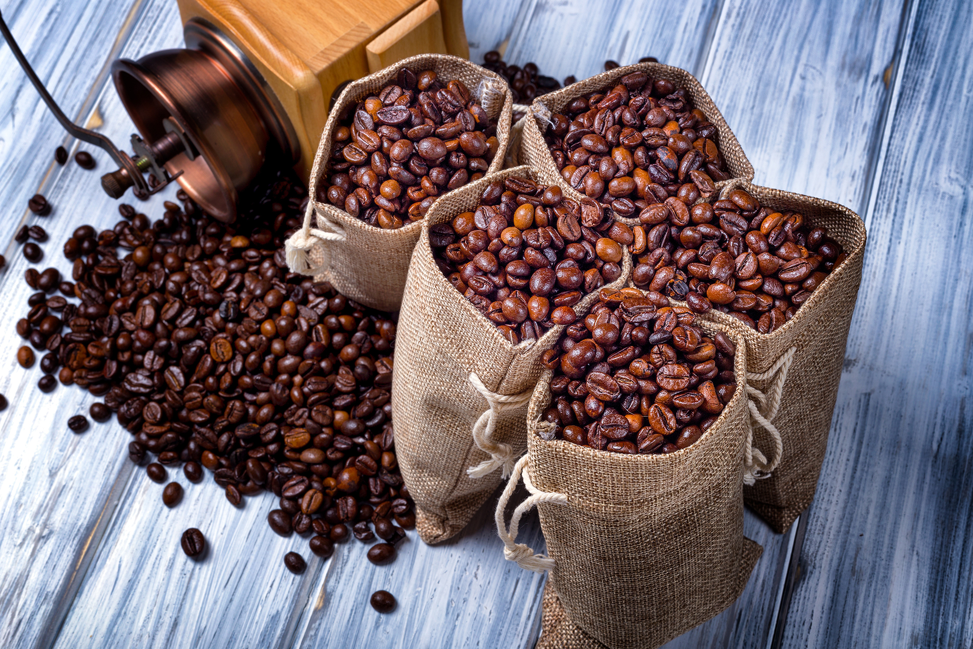 Coffee grinder with bags of coffee beans 53629