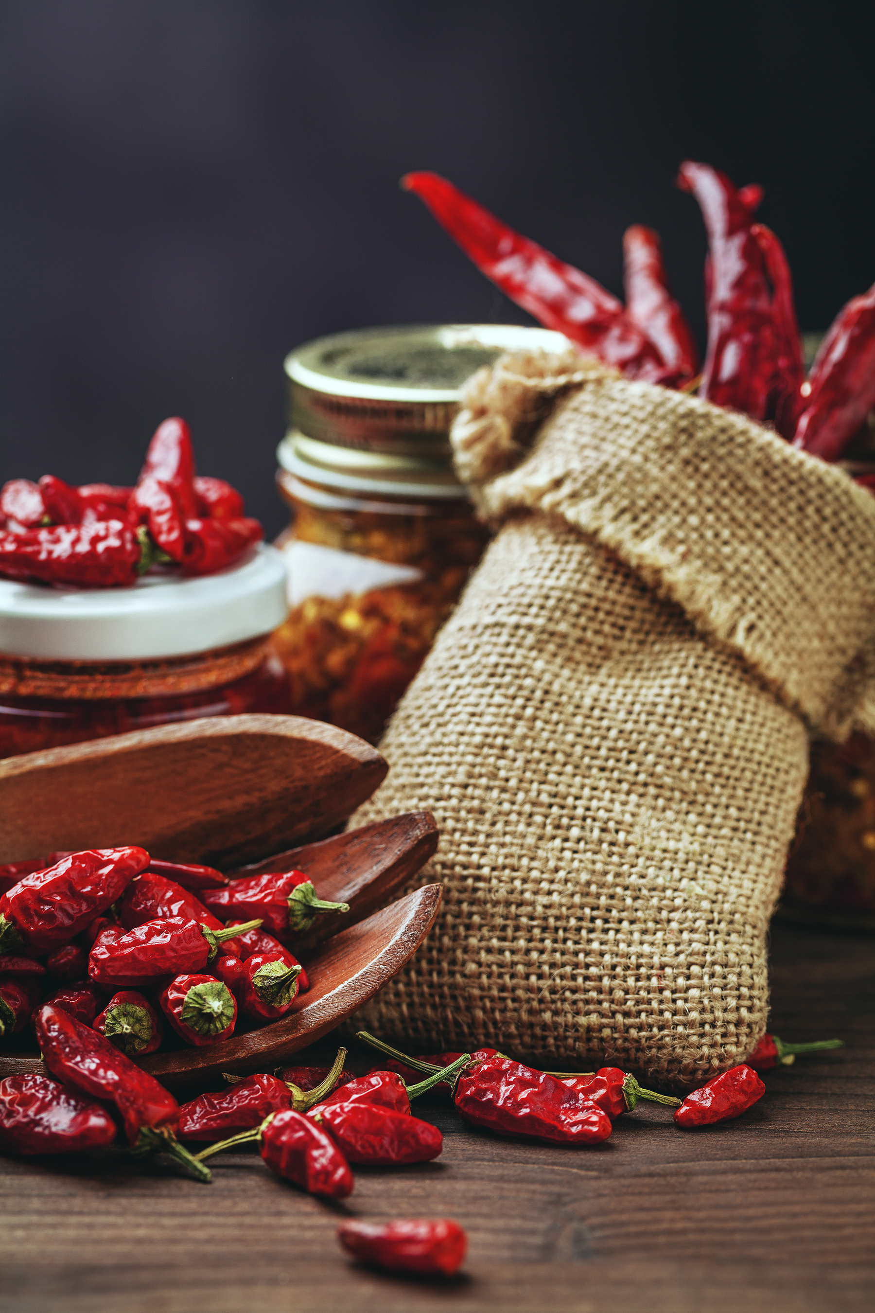 Dry pepper and a jar of red pepper 53684