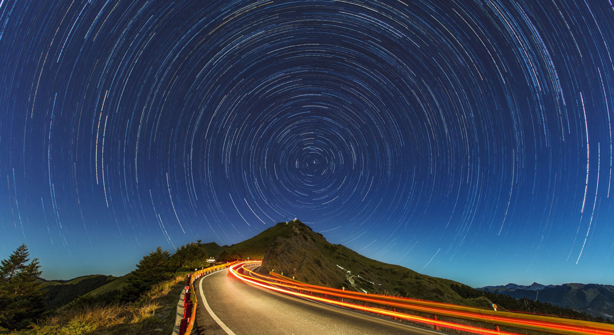 Roads at night with the stars 53705