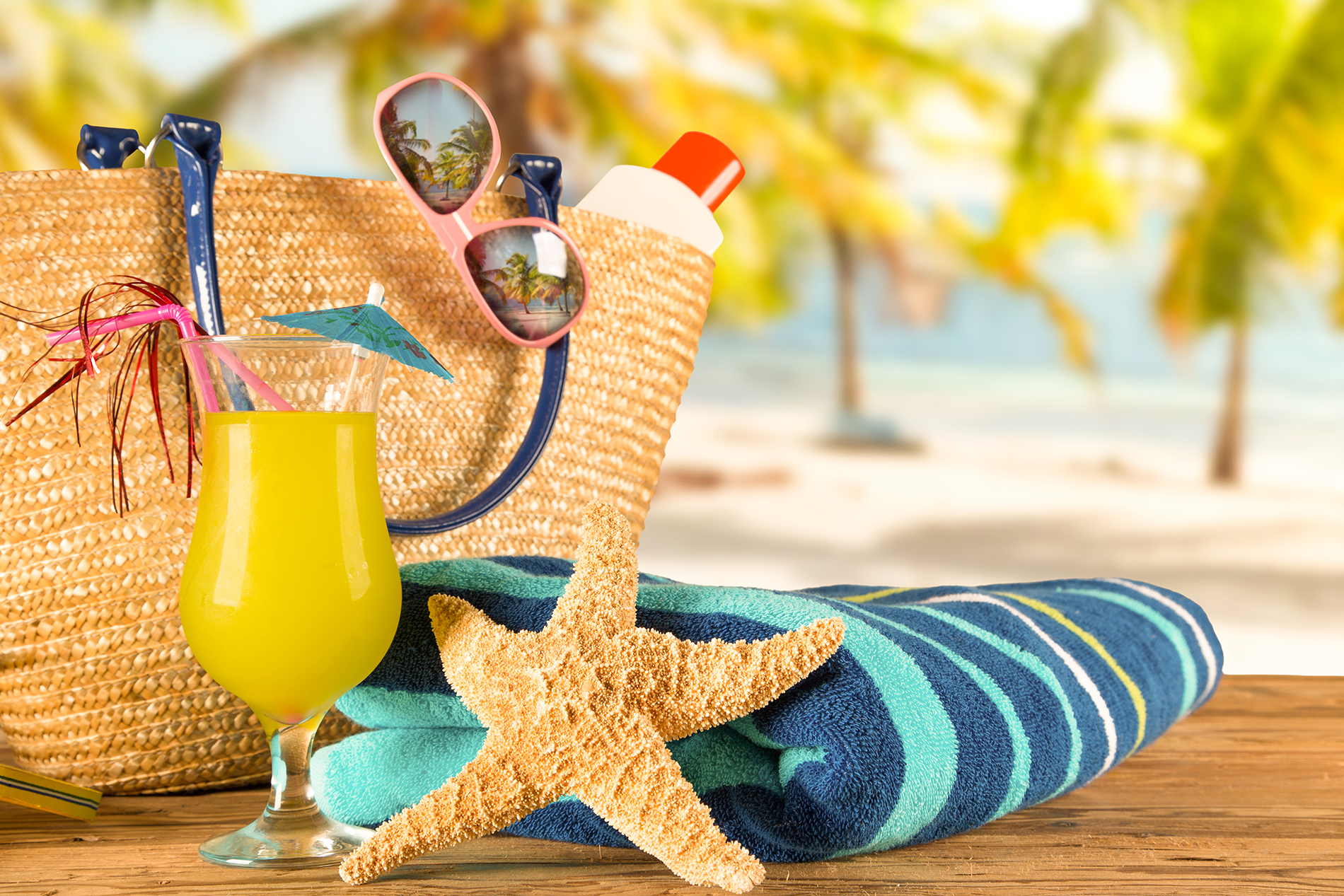 Towel starfish and juice glasses 53728
