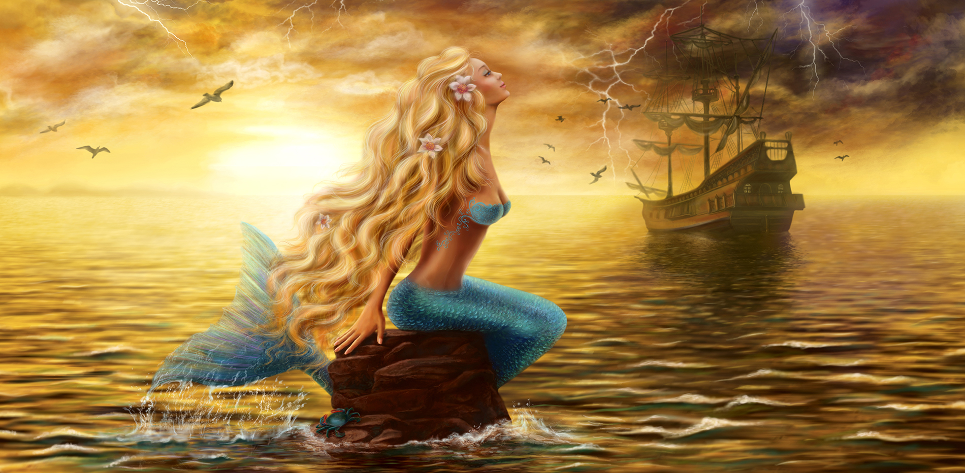 Mermaid sitting on the rocks 53880