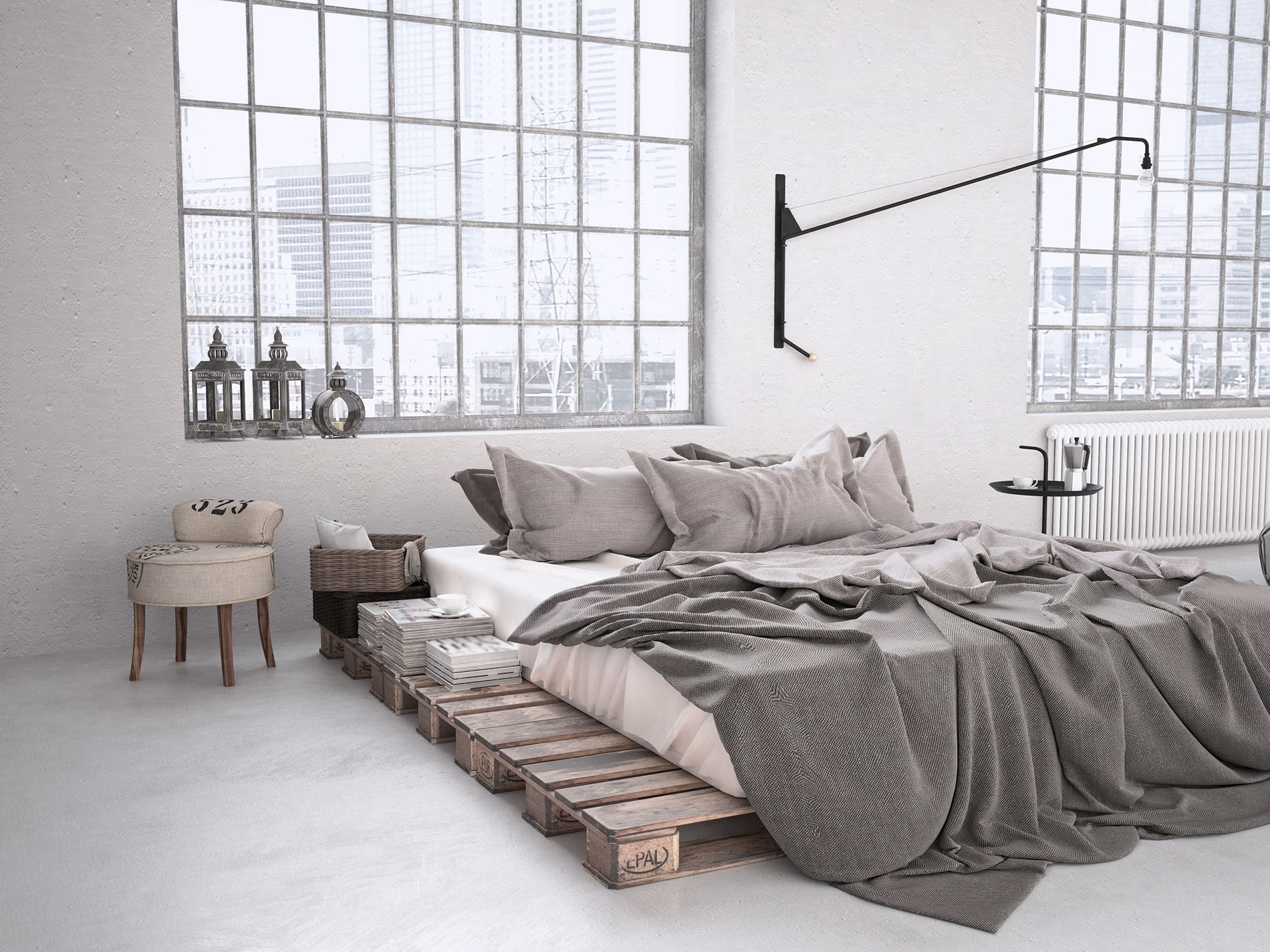 Bon American Industrial Style Bedroom 53881