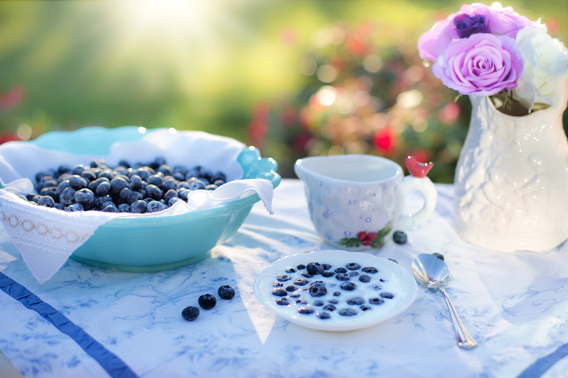 Table milk blueberries 53894
