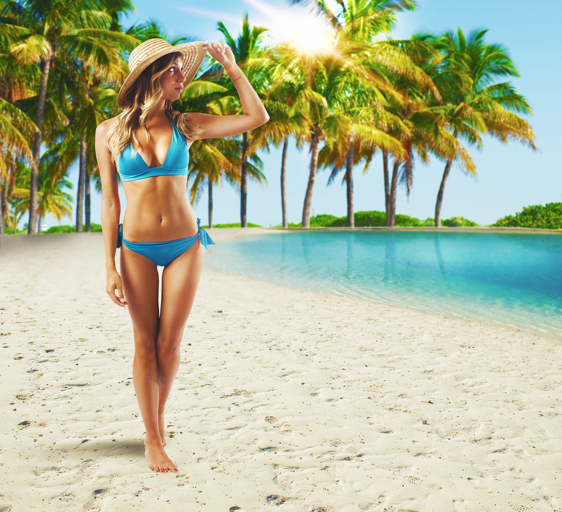 Bikini beauty and water coconut trees 53932