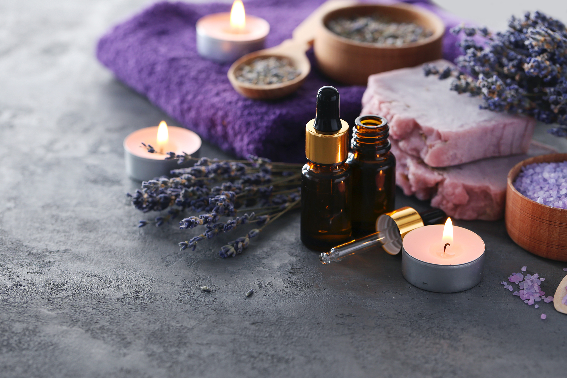 Aromatherapy products such as candle oil and towels 54295