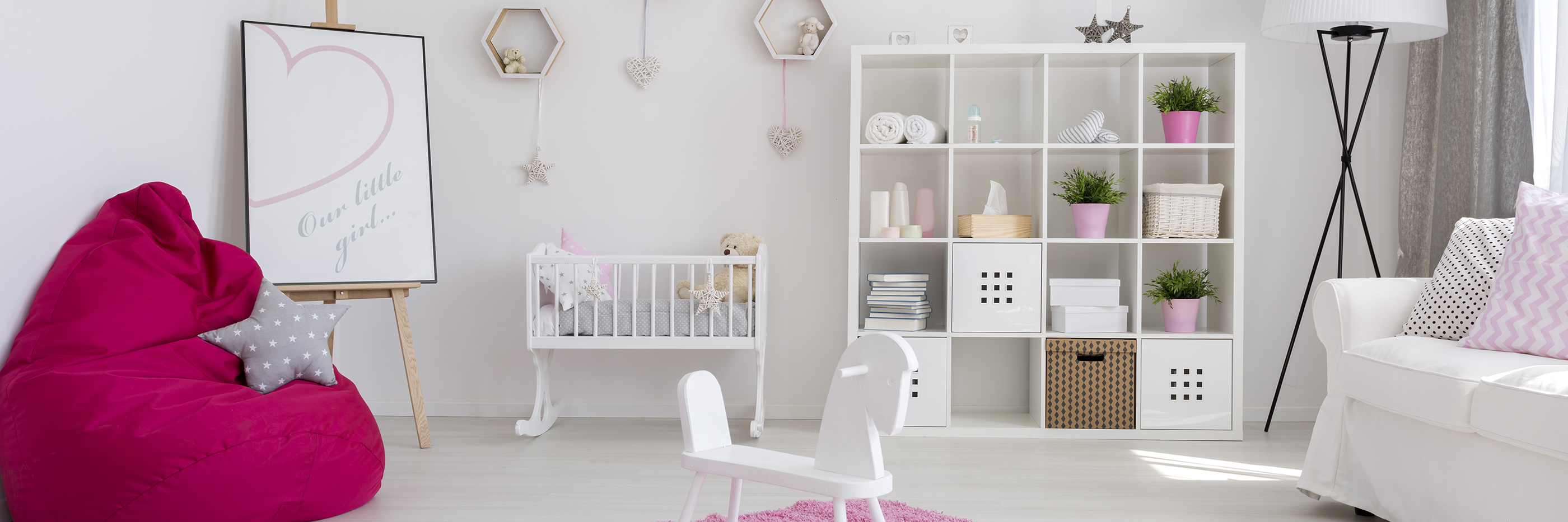 Room crib shelf with floor lamp 54360