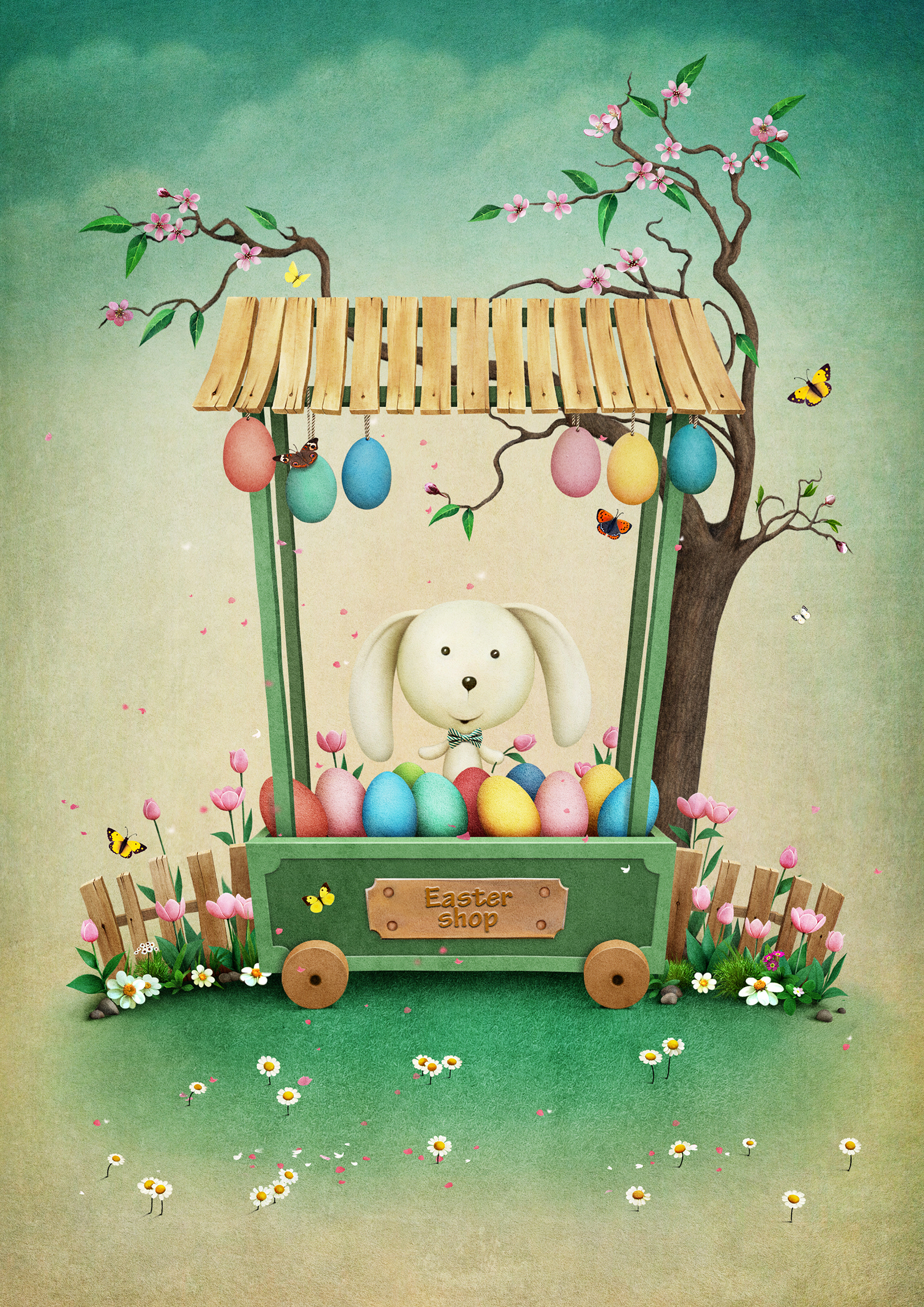 Rabbit, illustration, sale of easter eggs 54418
