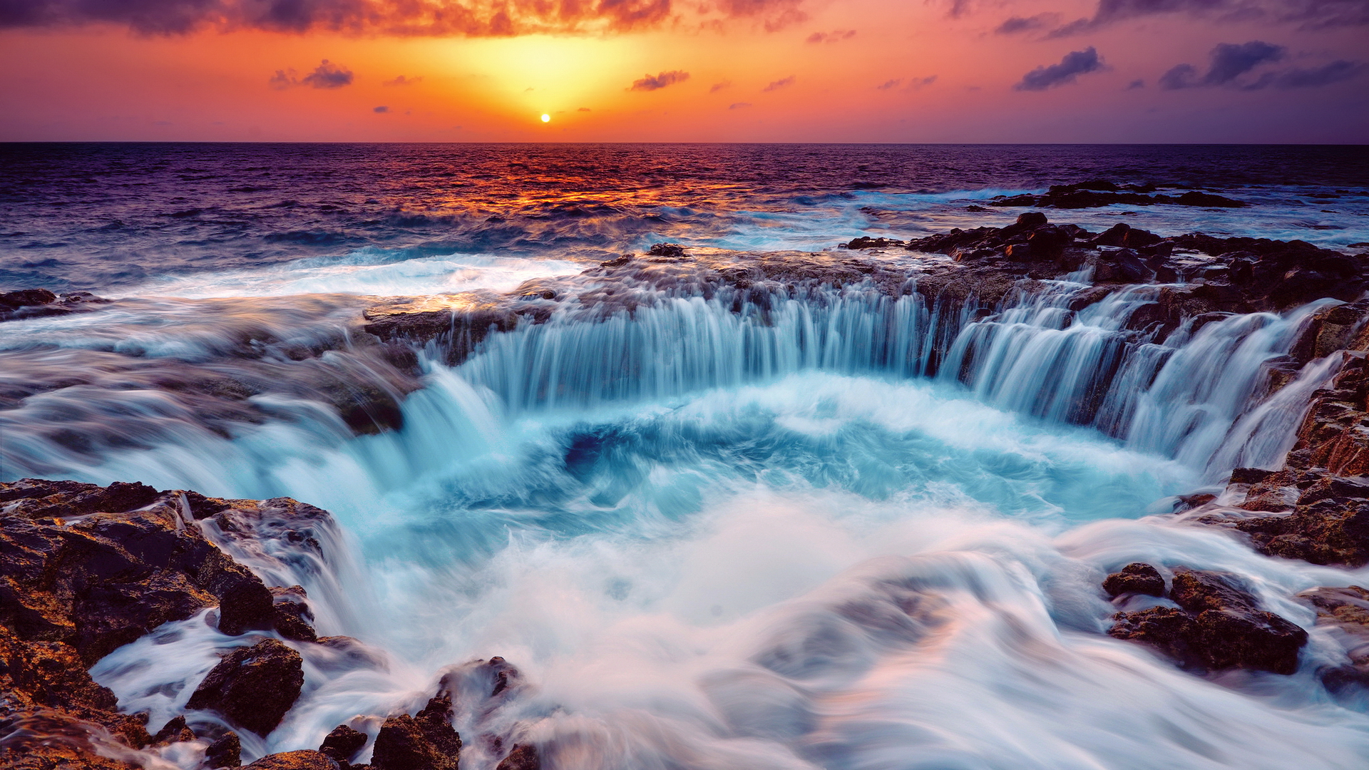 Beautiful waterfall at dusk under the sea 54553