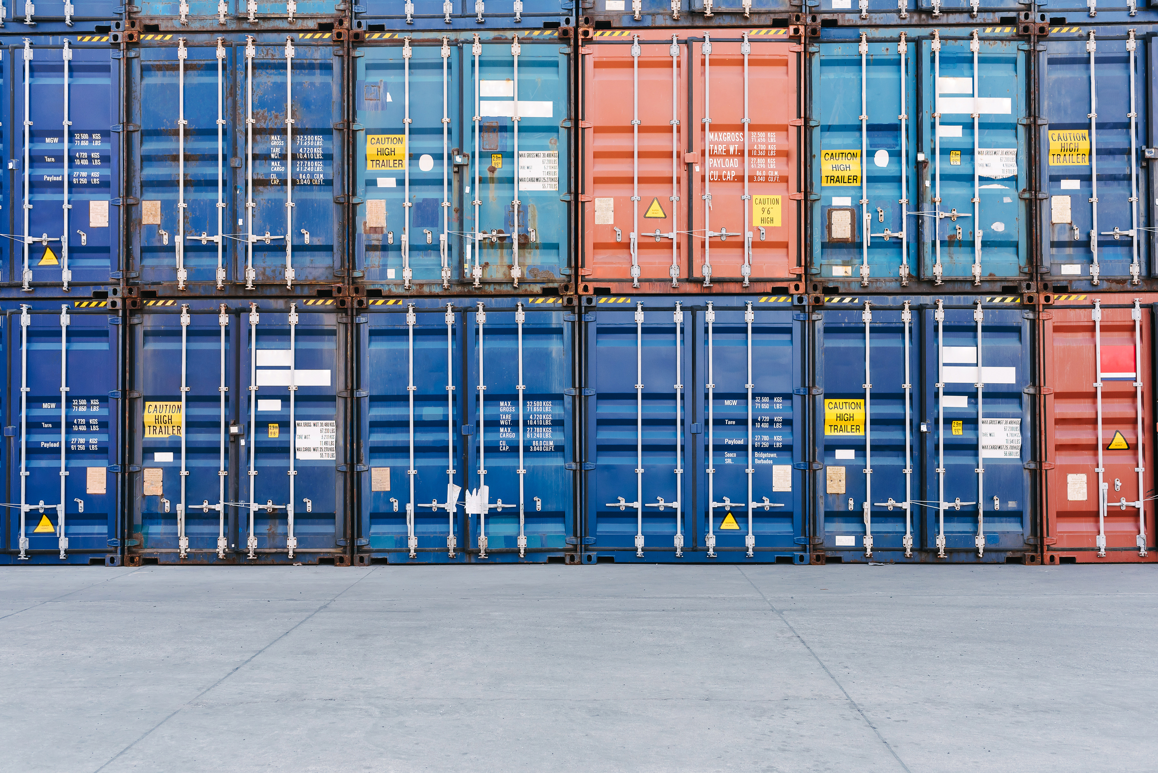 Containers stacked in the logistics center 54566