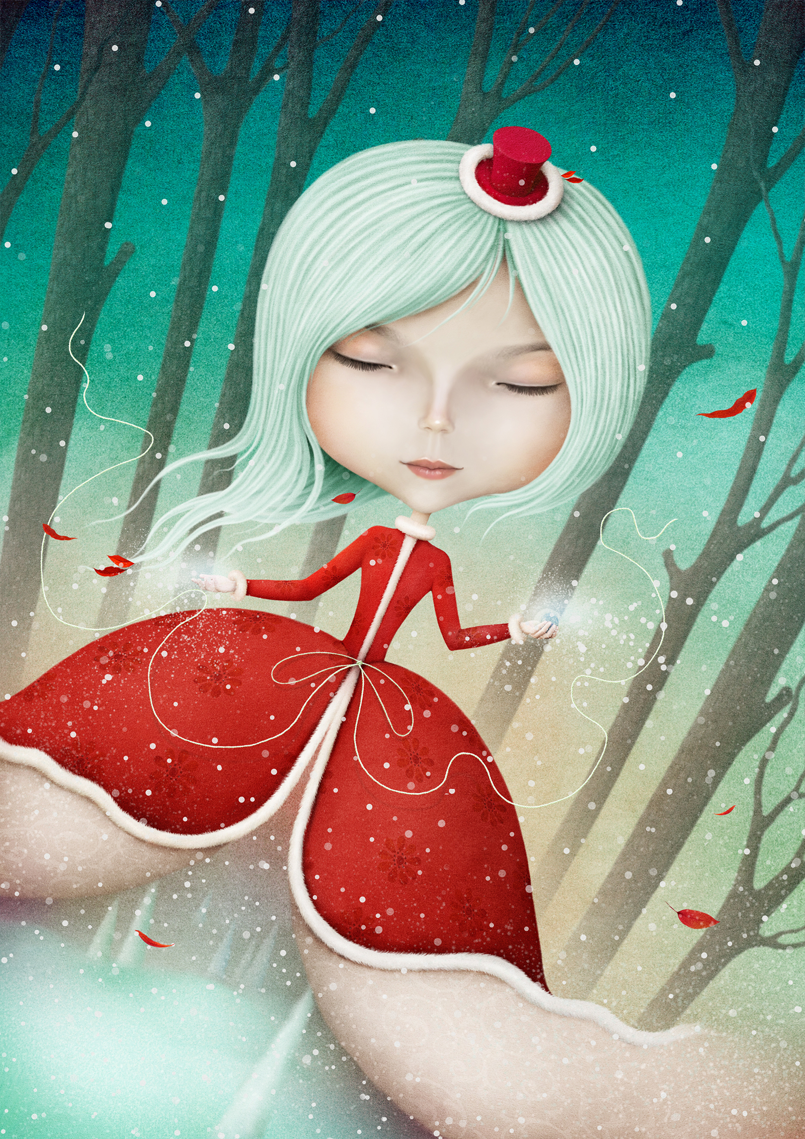 Red dress, elf, illustration 54689