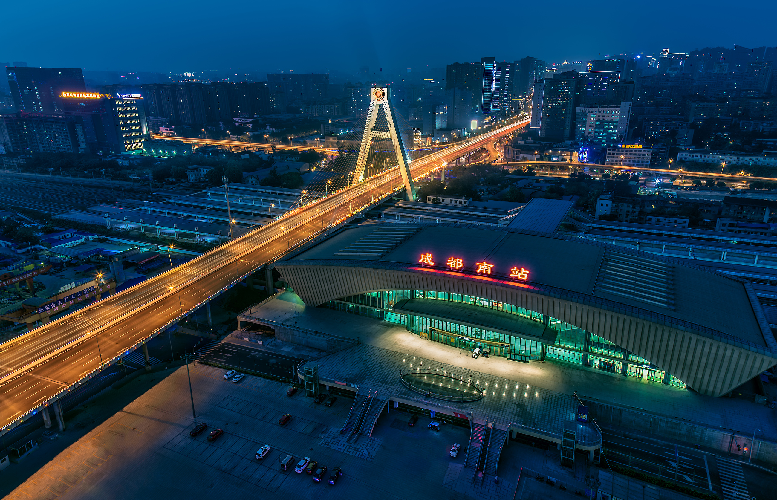 Beautiful night view of Chengdu Tianfu Interchange 54722