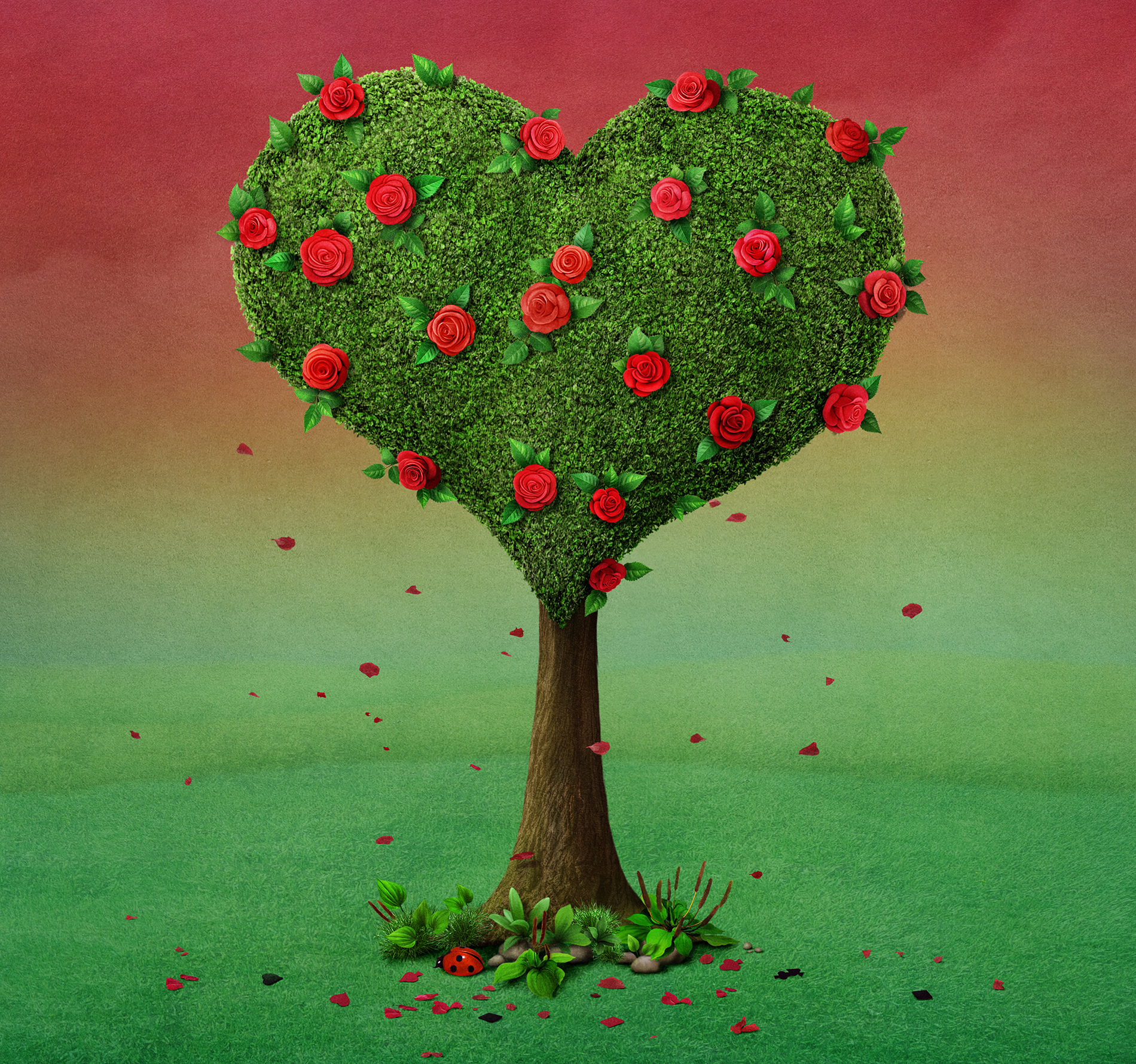 Heart shaped tree with falling petals 54933