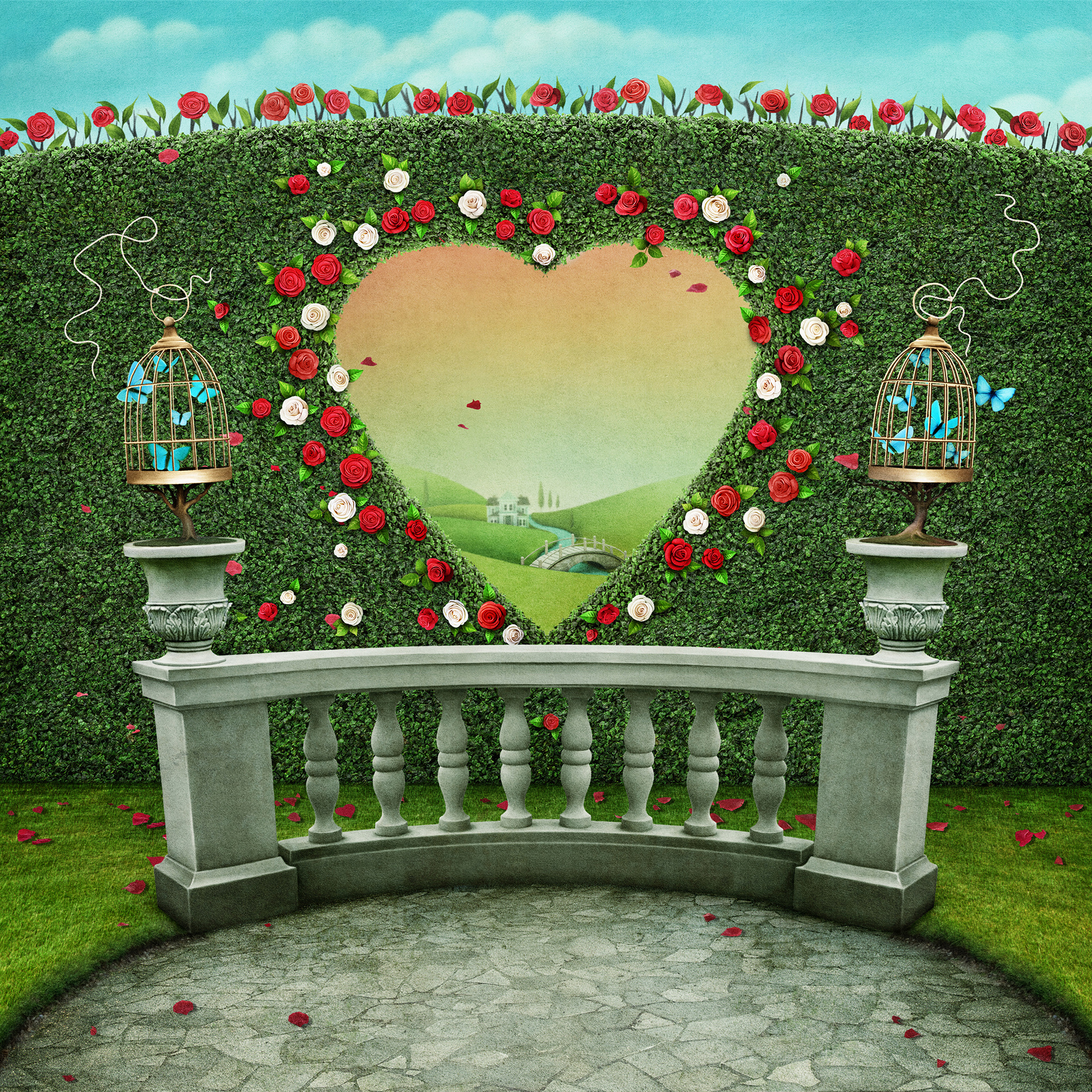 Heart shaped rose flower wall 55016