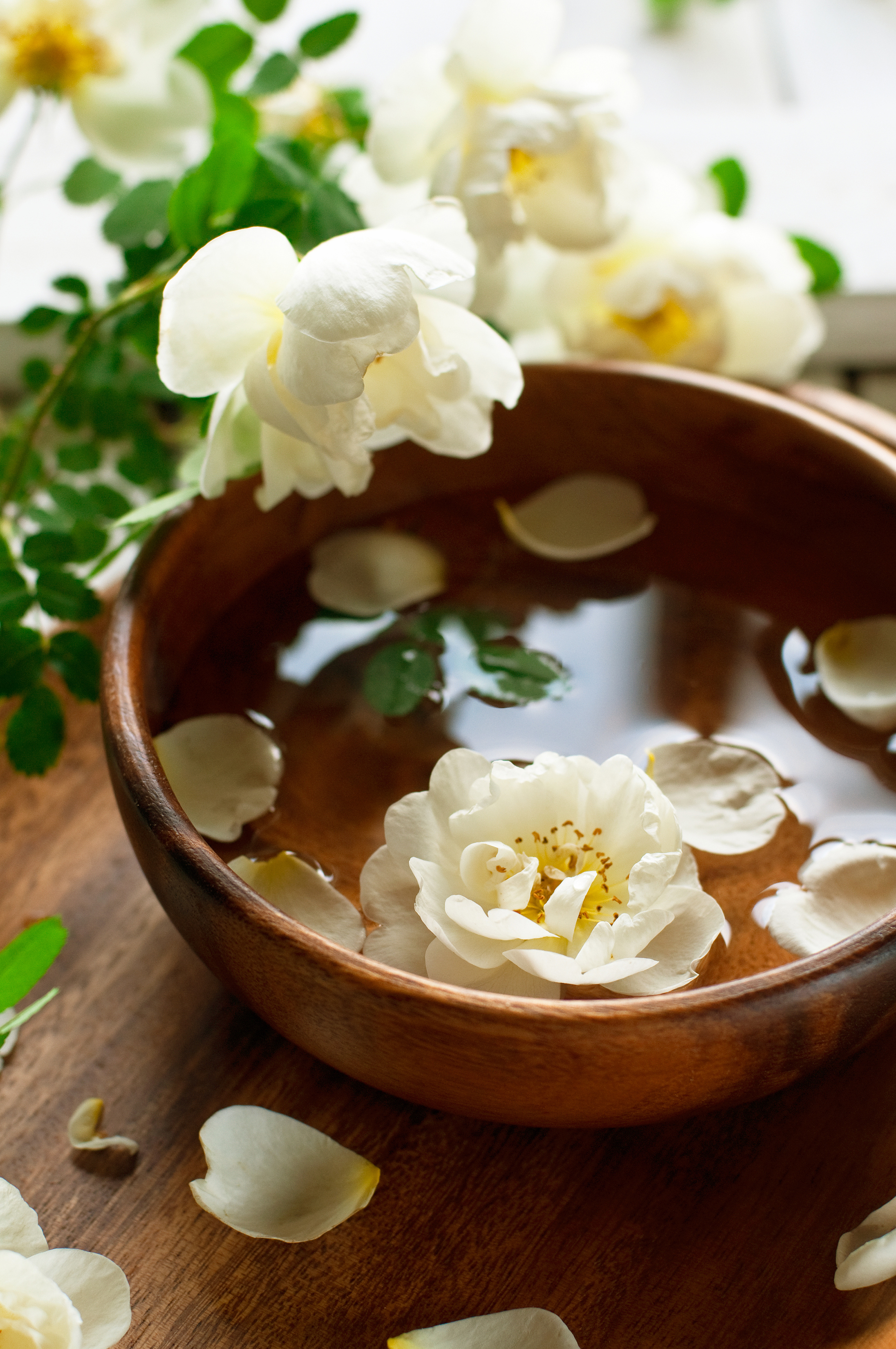 White petals 4972 falling in wooden bowl 55100