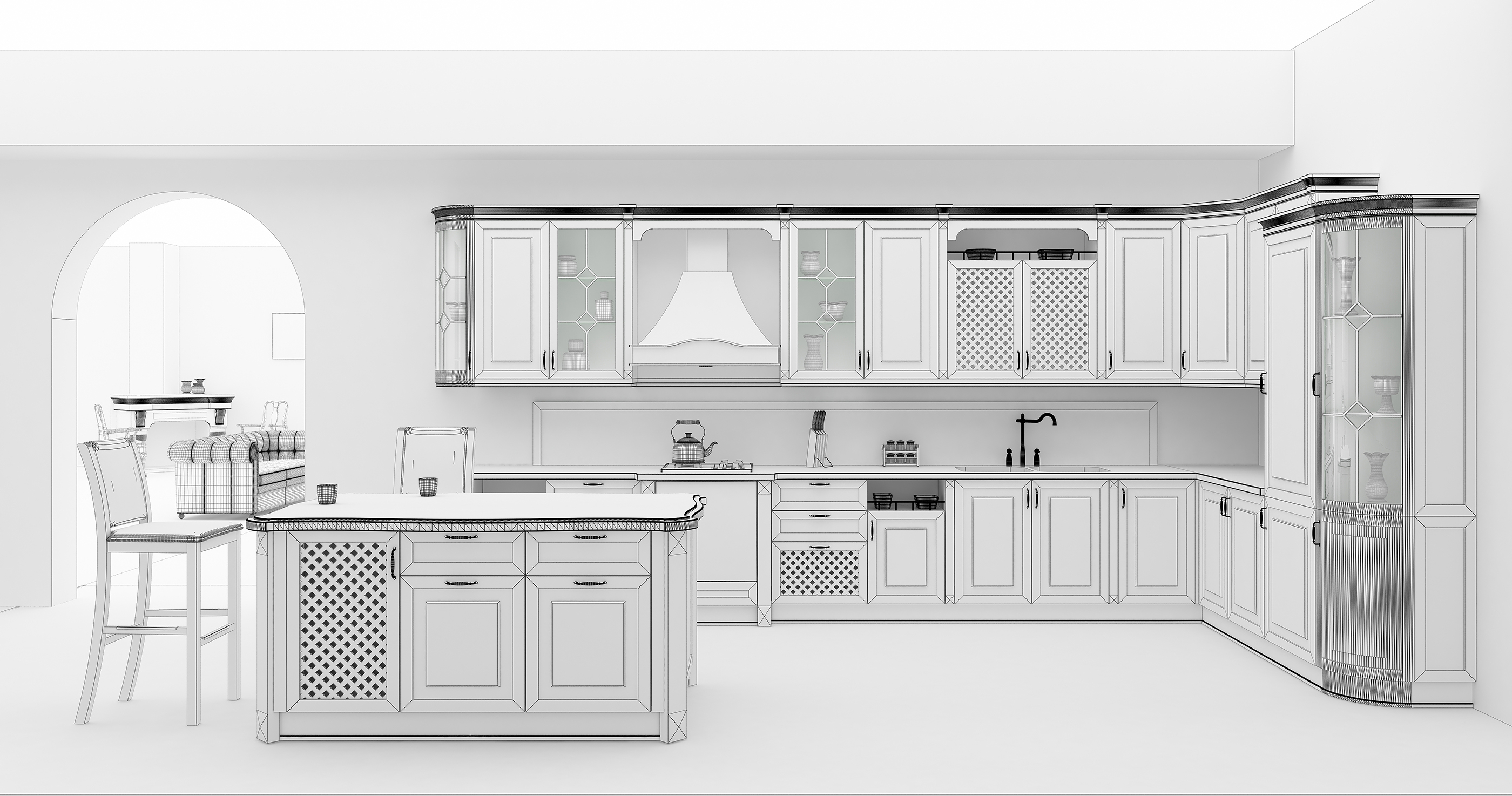 Large space open kitchen rendering 55104
