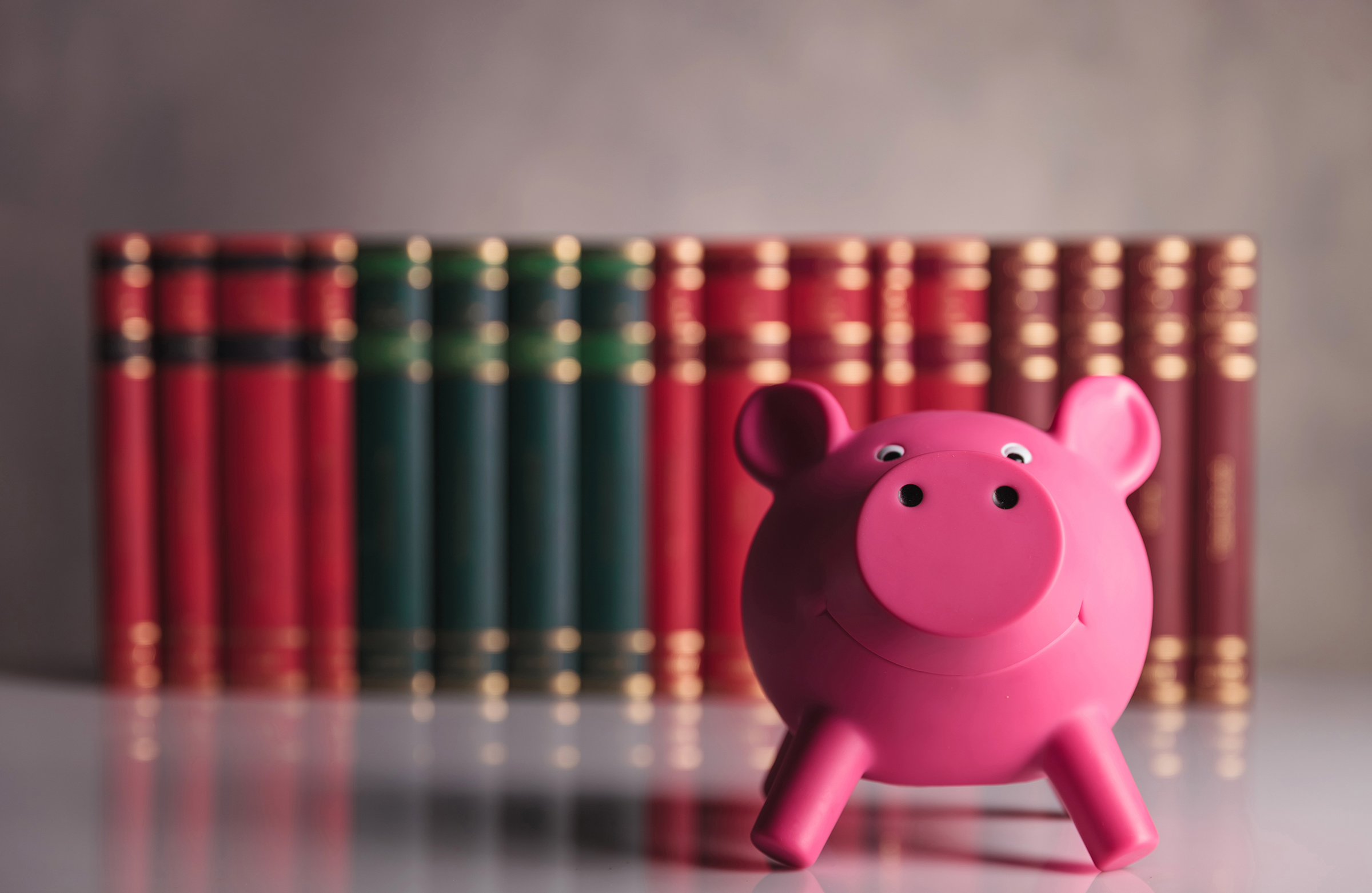 Pink piggy bank 4853 in front of a row of books 55205