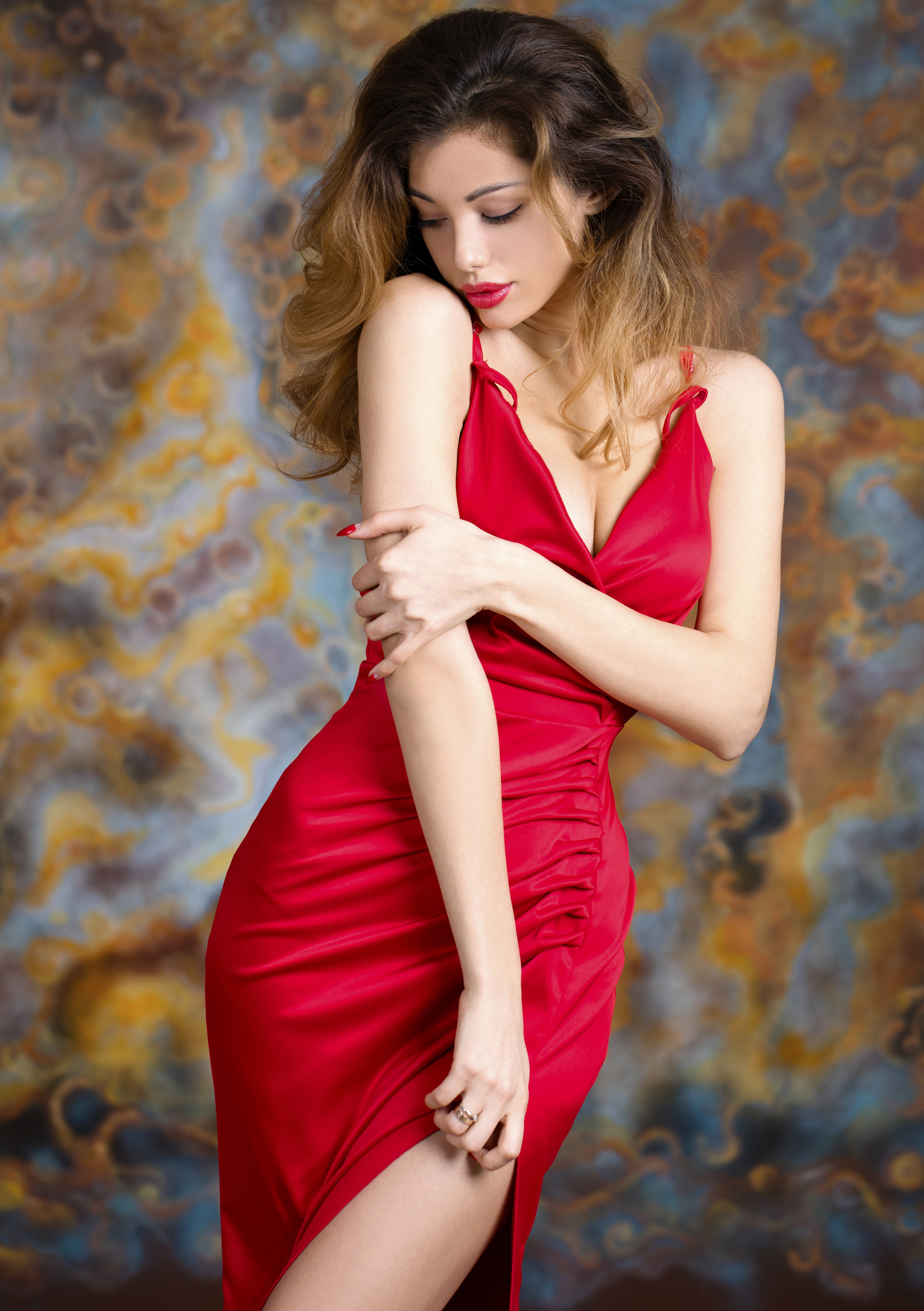 Red skirt, beauty, character 55277