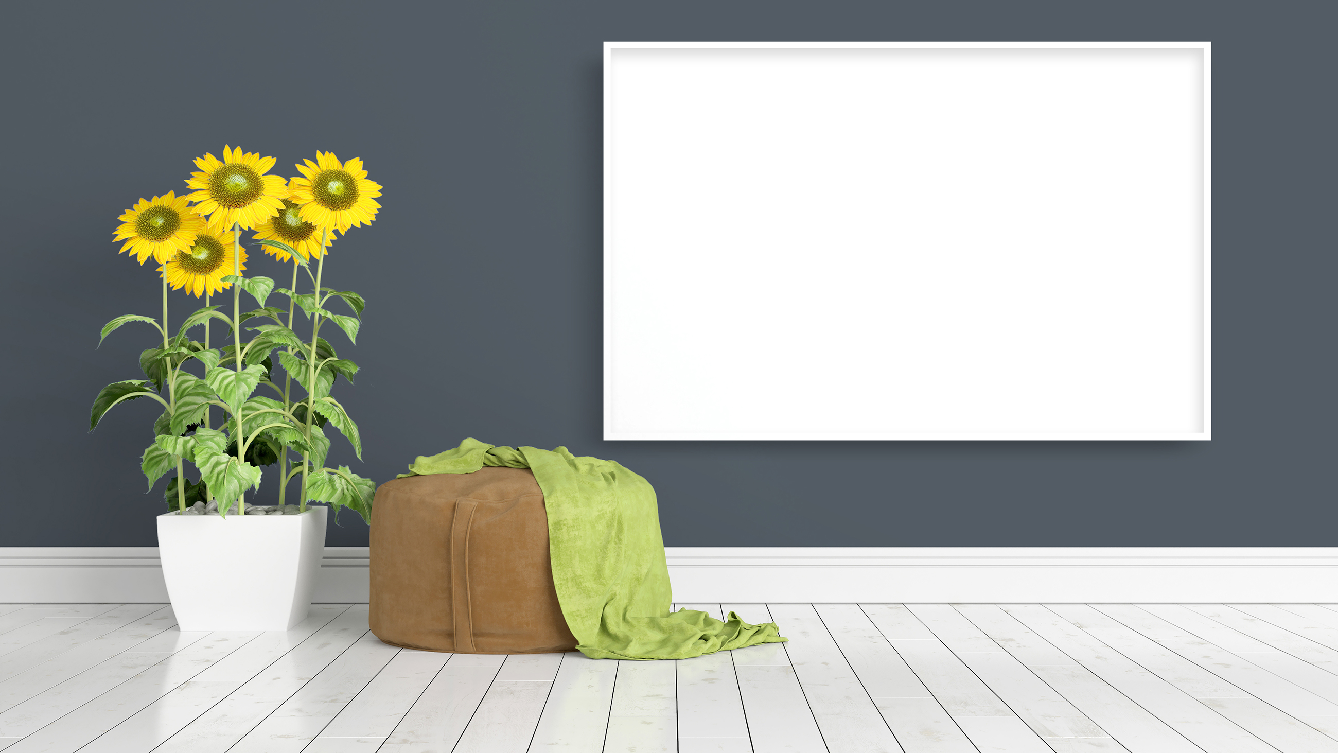 Sunflower with blank picture frame on the wall 55392