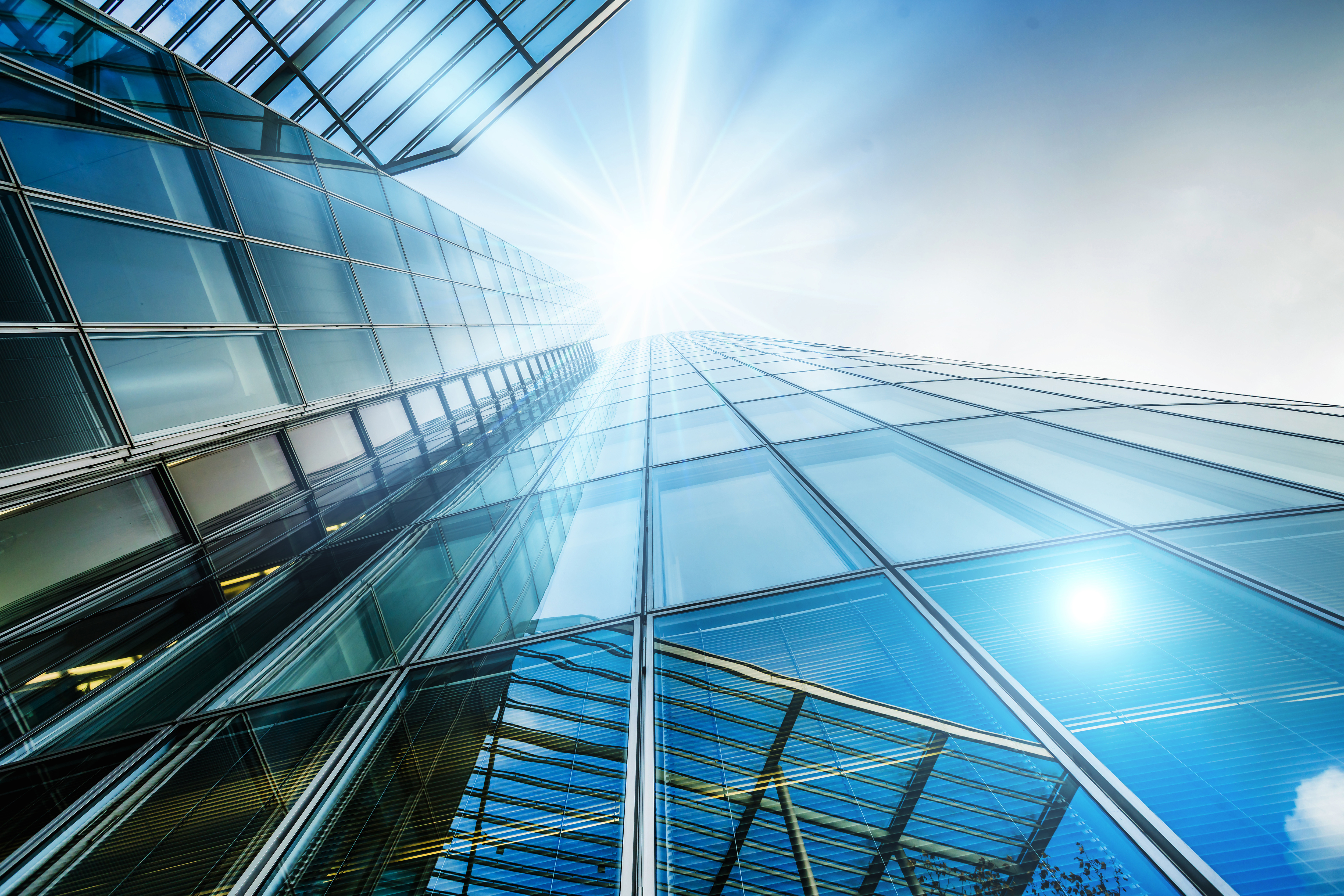 Building glass curtain wall looking up angle 55423