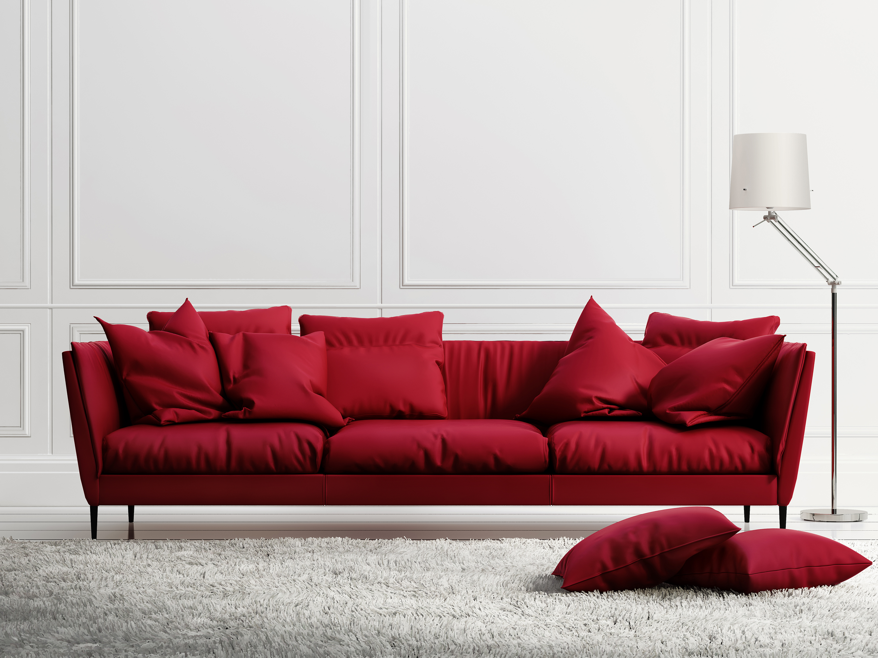 Floor lamp with red sofa 55541