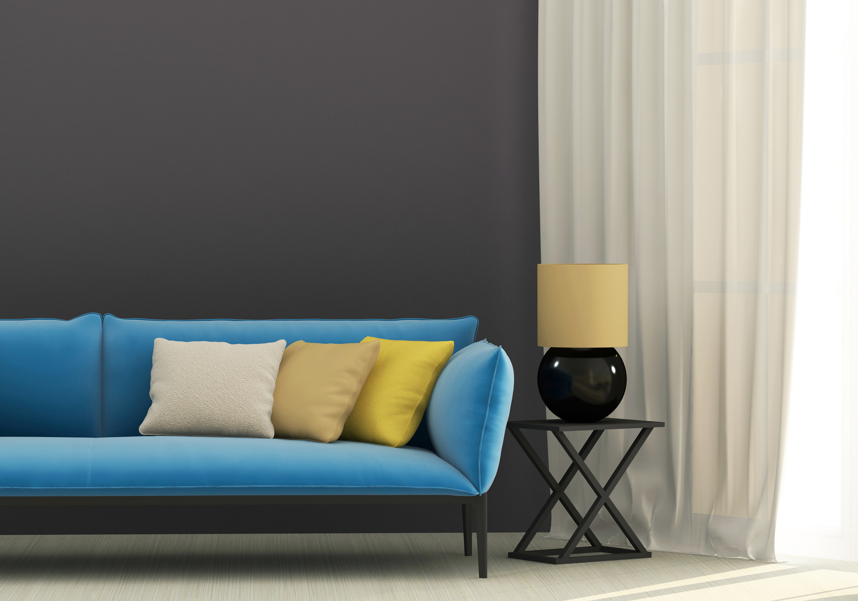 Table lamp and sofa 55563