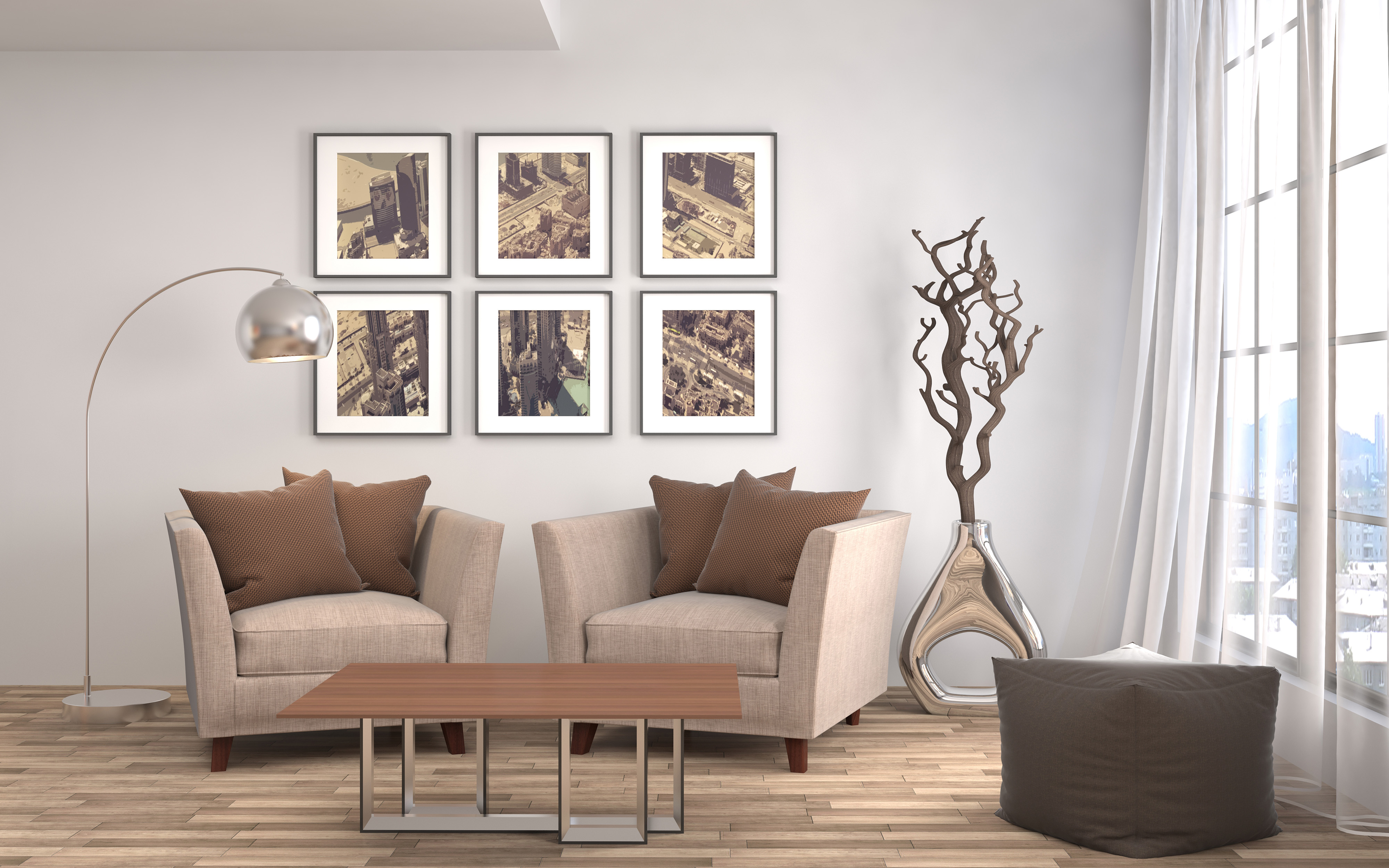 Floor lamp and decorative painting 55650