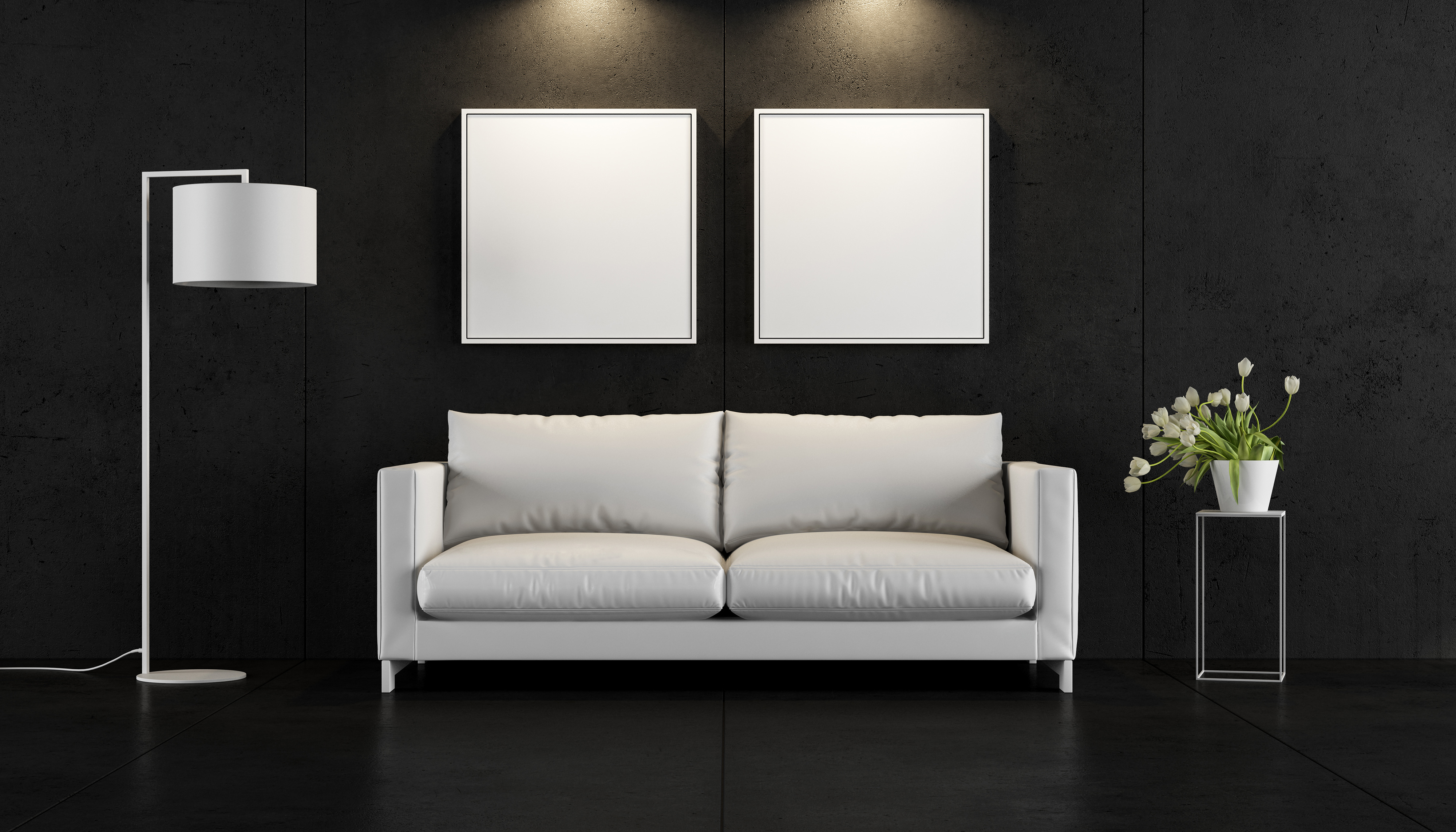 Indoor floor lamp and sofa painting 55669