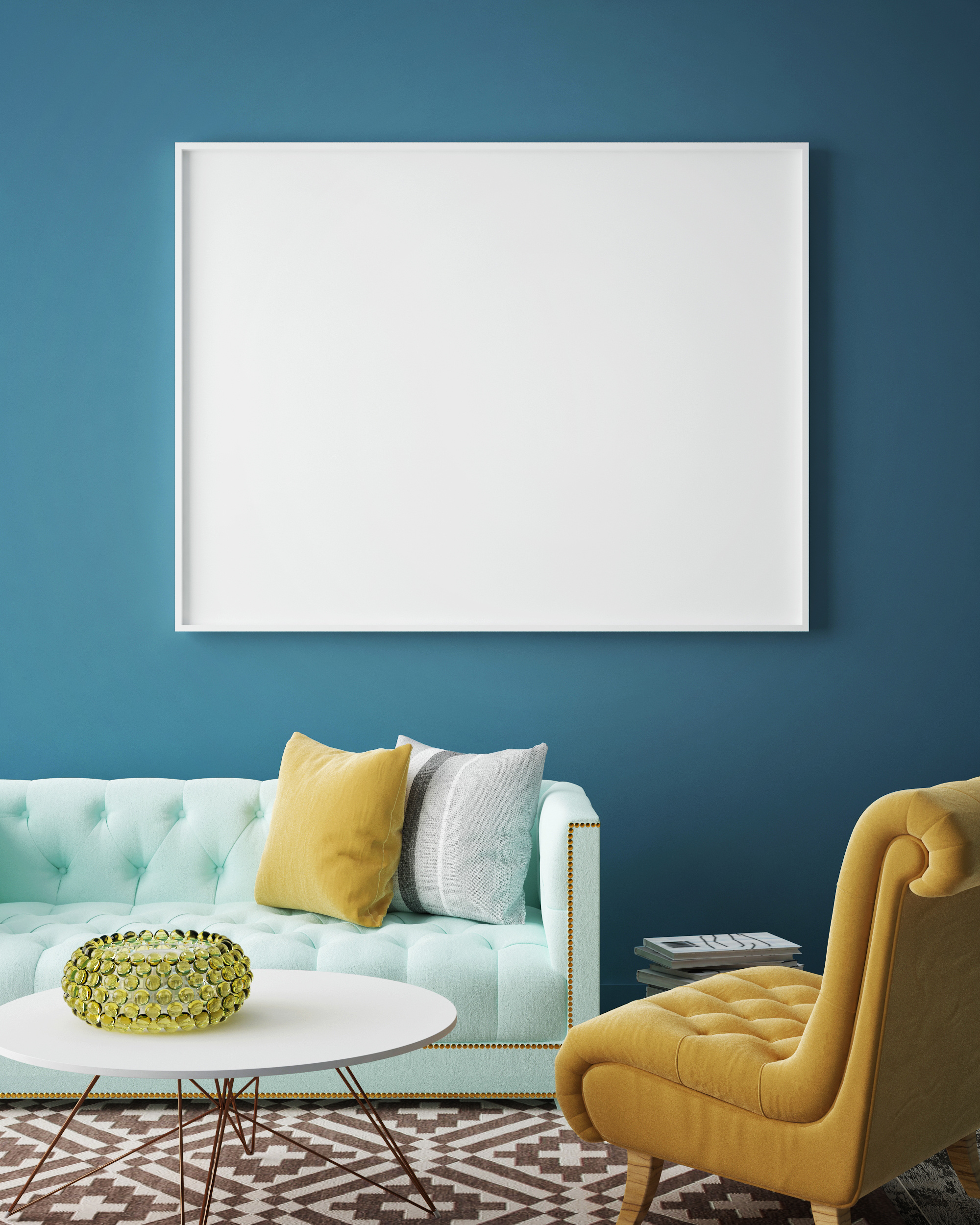 Sofa with blank hanging picture 55829