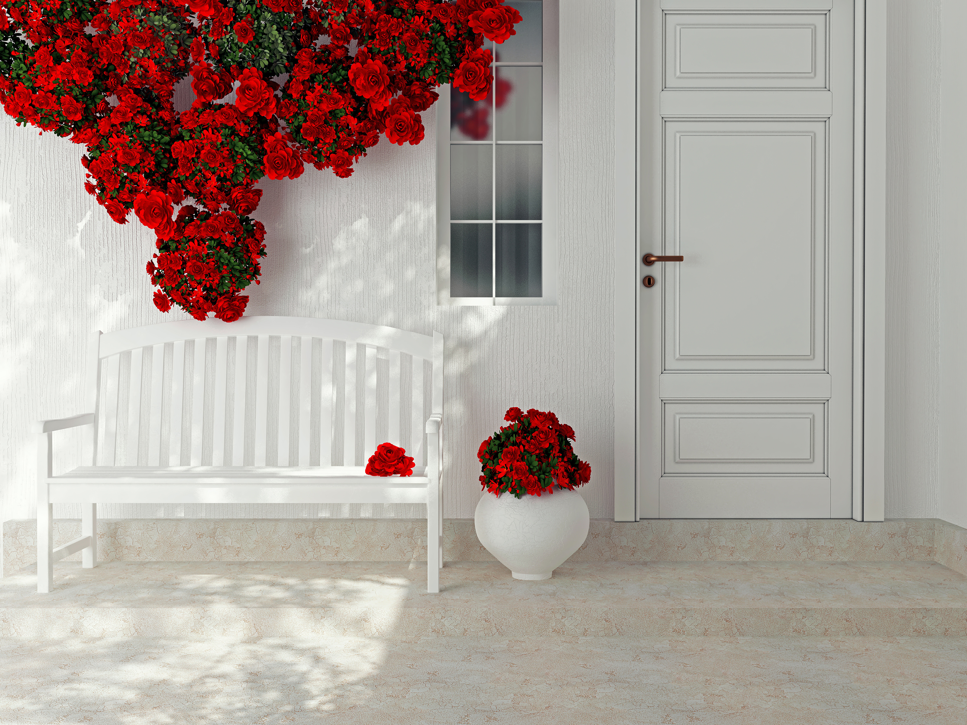 Red flowers with white bench 55830