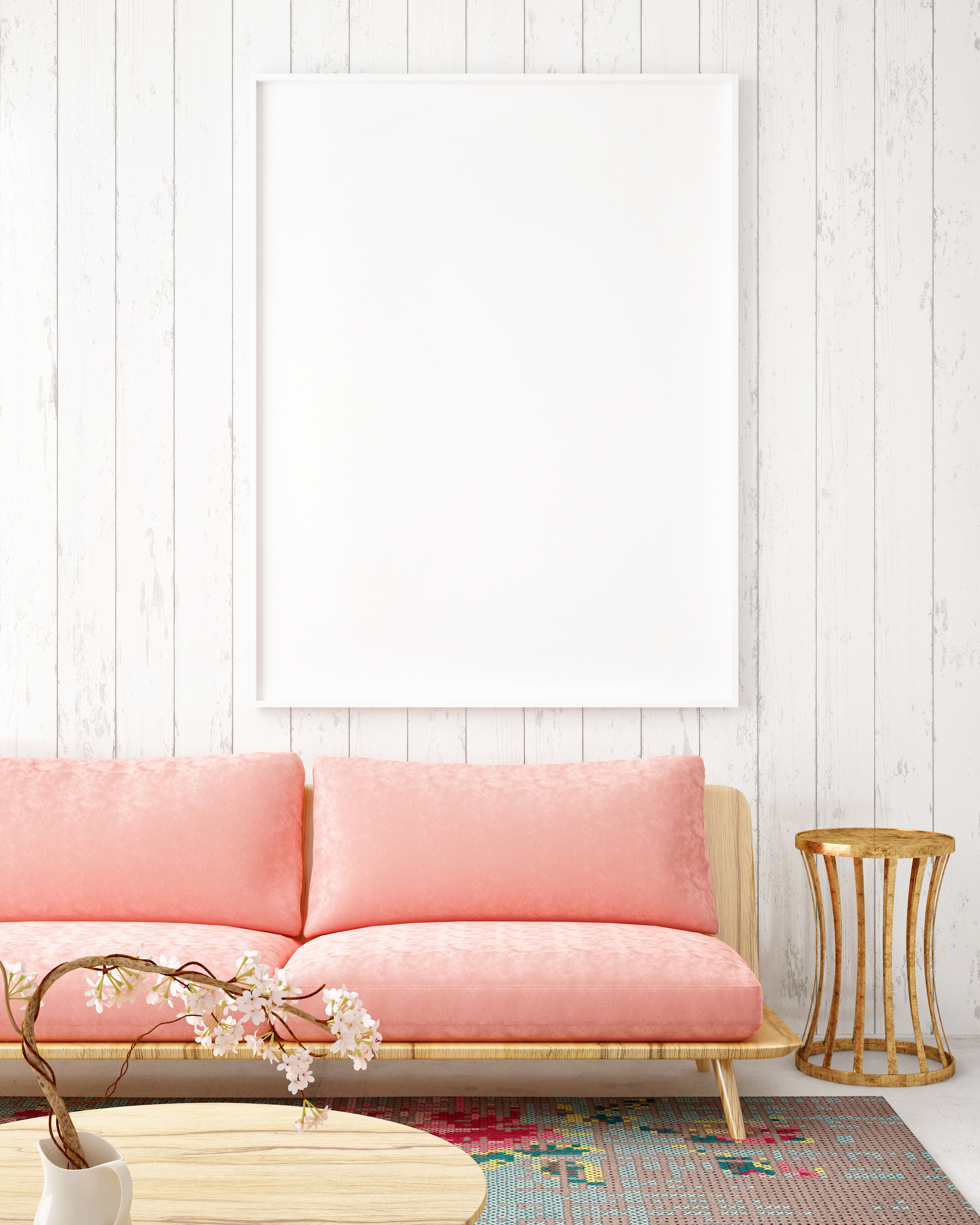 Sofa with blank hanging picture 55842