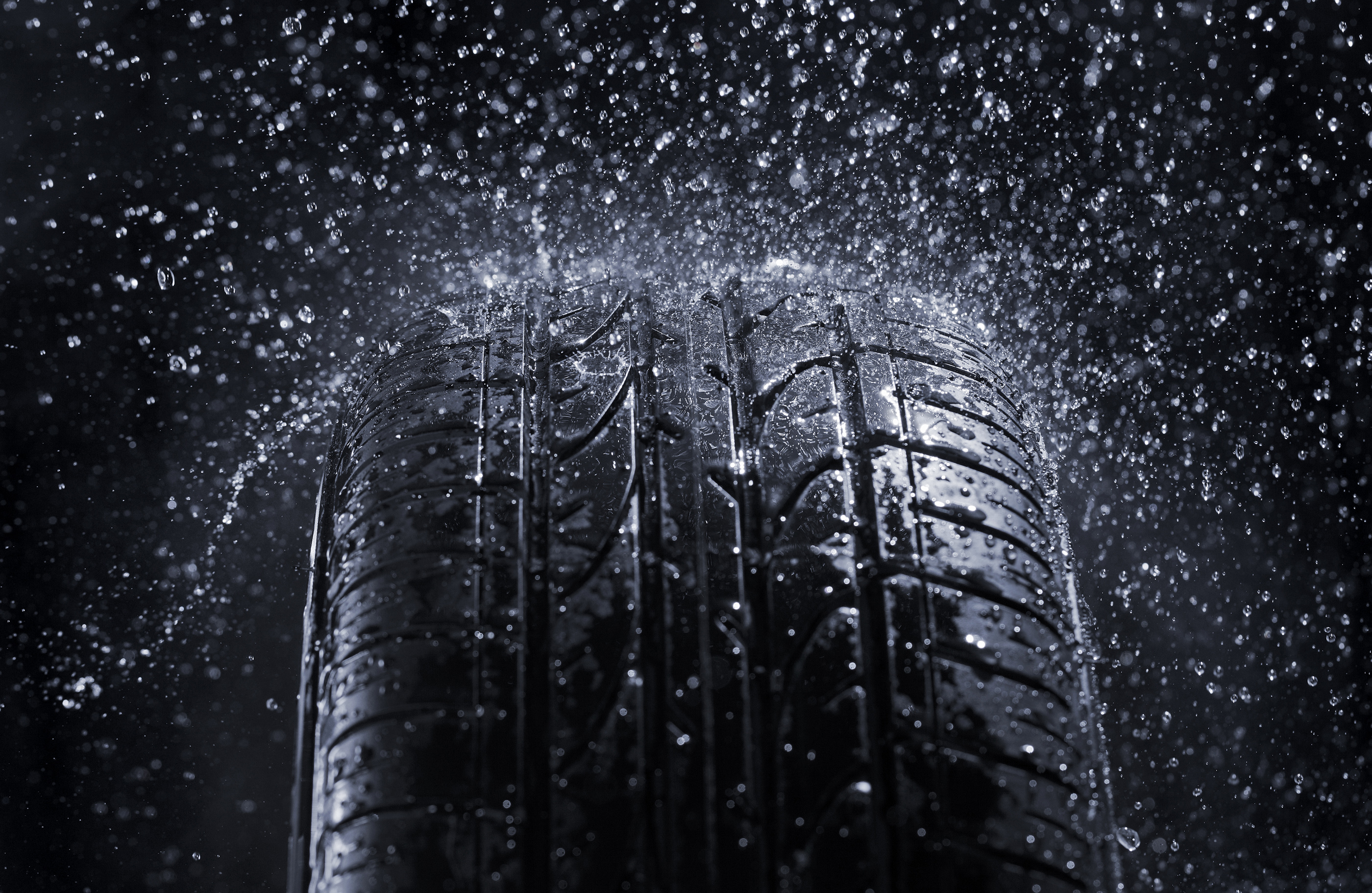 Car tire 4934 wetted by rain 55866
