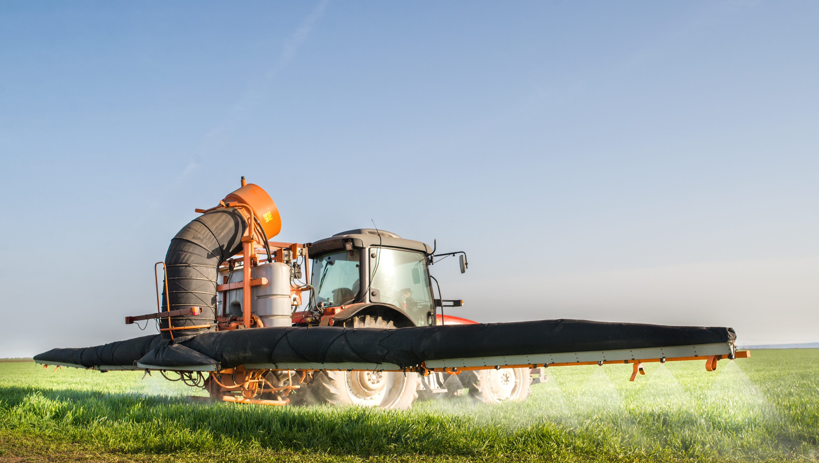 Large-scale spraying of pesticides tractor 56048