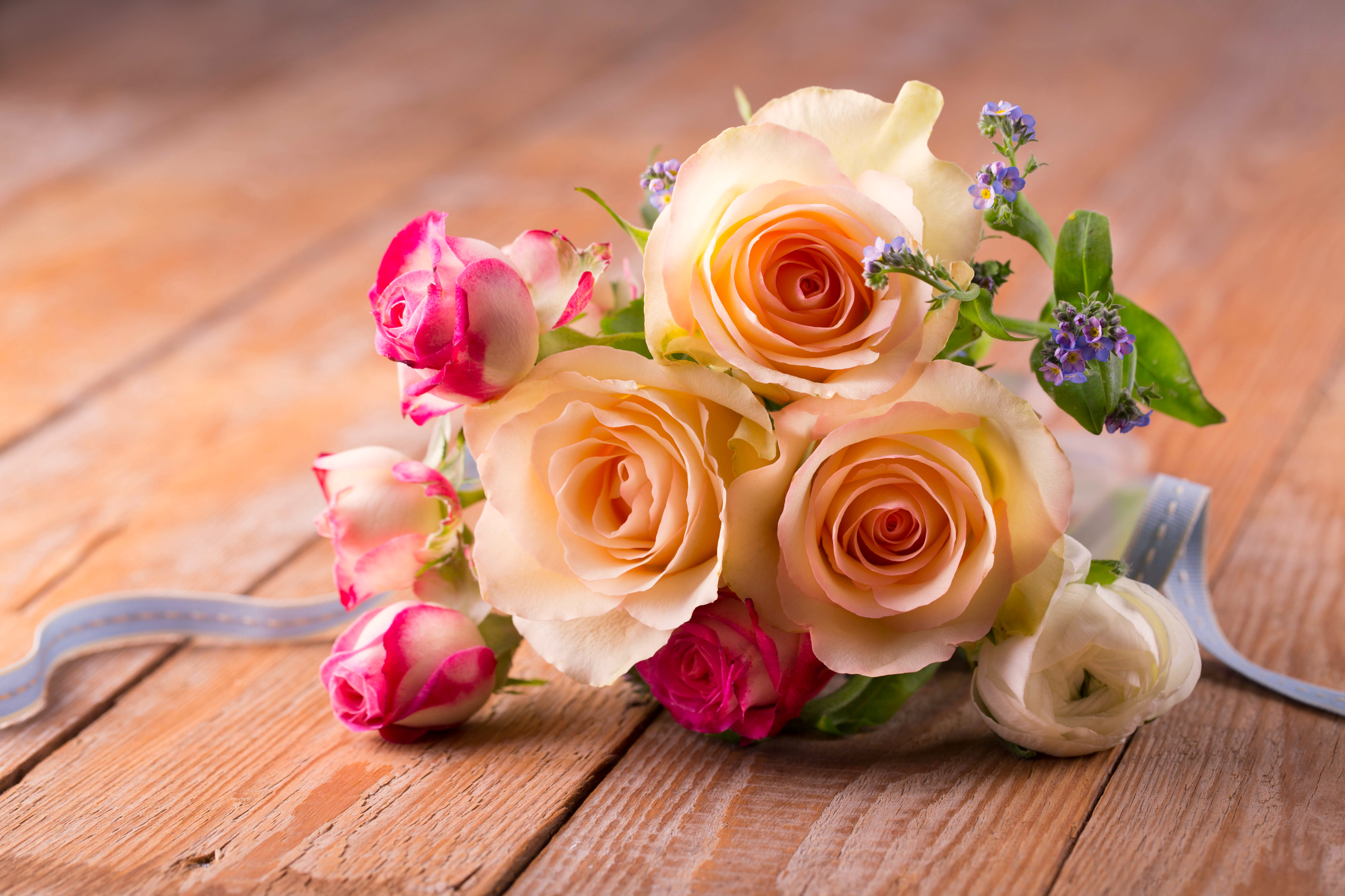 Bouquet of roses on wooden board 56169