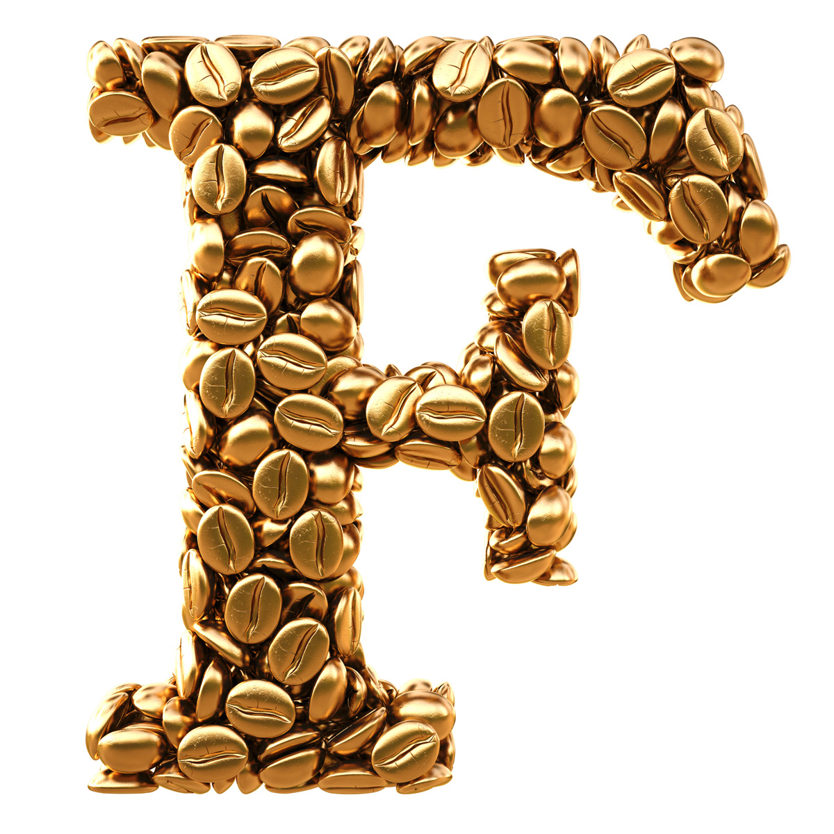 Golden F letter creative coffee beans 31624