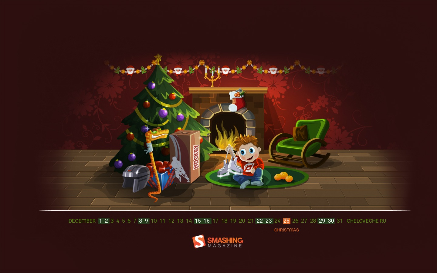 Years Christmas theme Calendar Wallpaper 32044