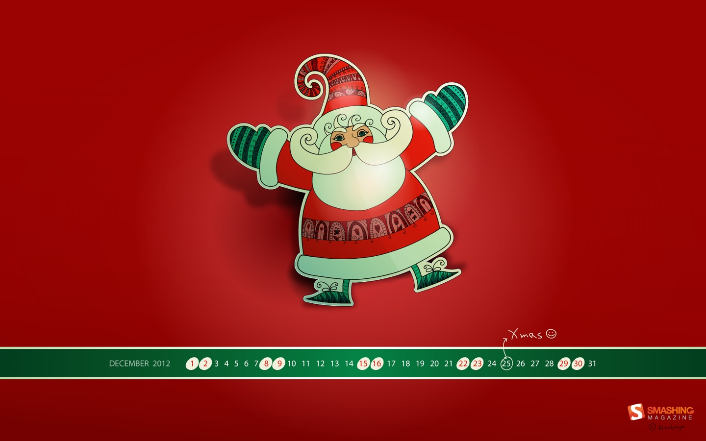 Years Christmas theme Calendar Wallpaper 32060