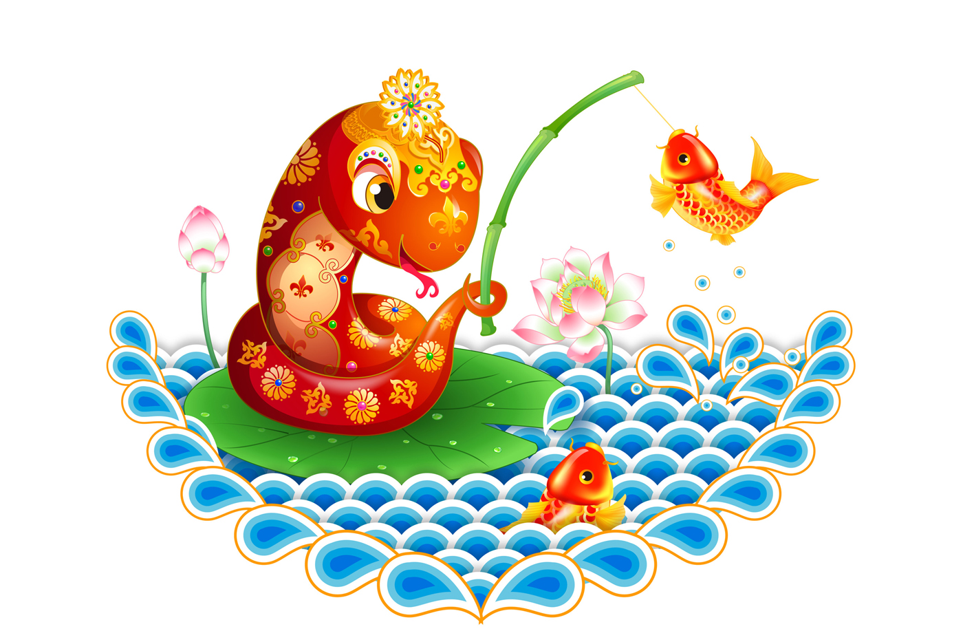 Cartoon snake fishing carp 32199