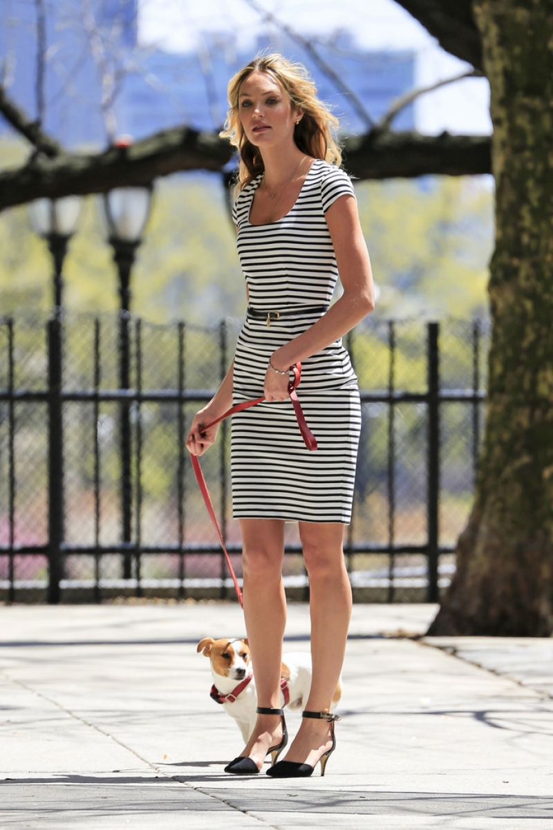 Candice Swanepoel Walks a Dog for a Photo Shoot 32984