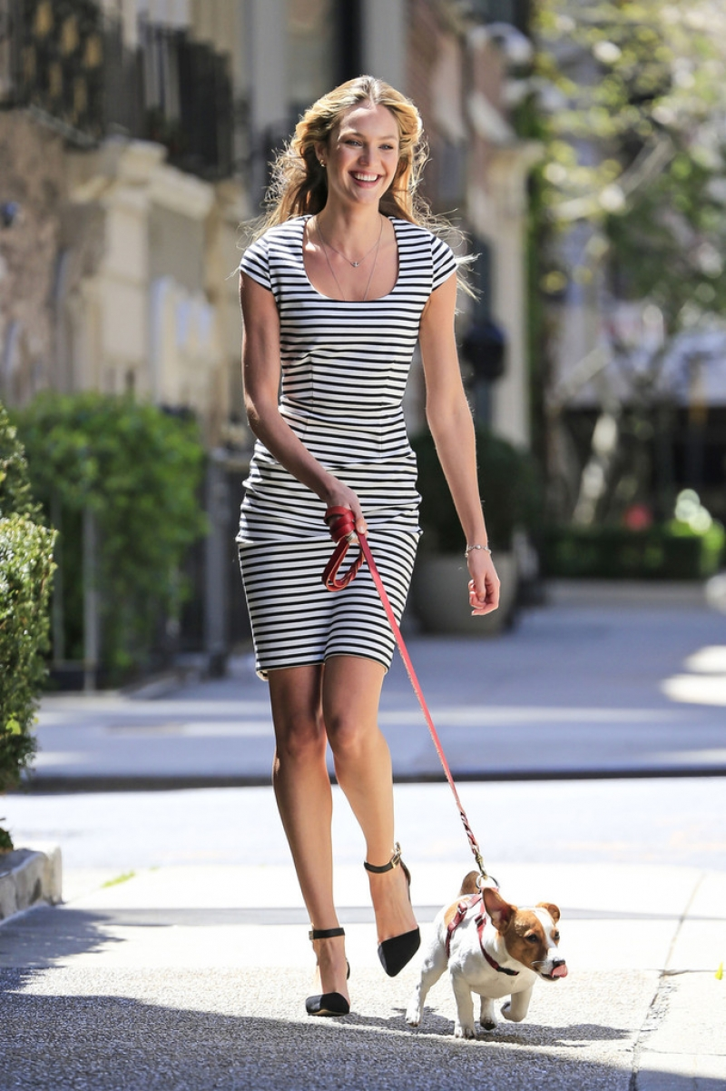 Candice Swanepoel Walks a Dog for a Photo Shoot 33002