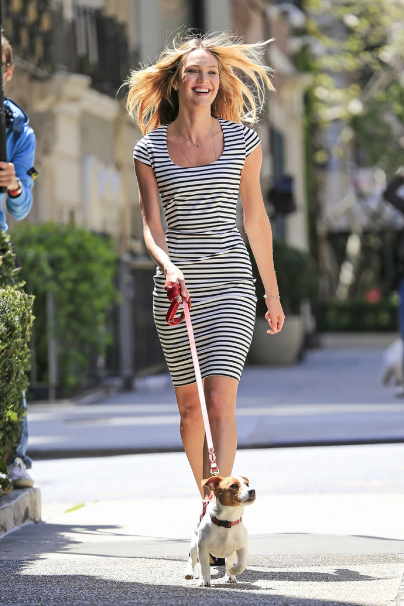 Candice Swanepoel Walks a Dog for a Photo Shoot 33017