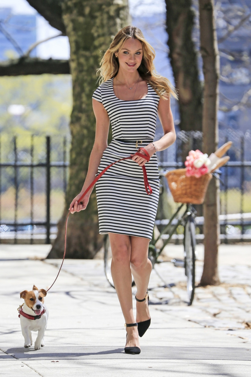 Candice Swanepoel Walks a Dog for a Photo Shoot 33025