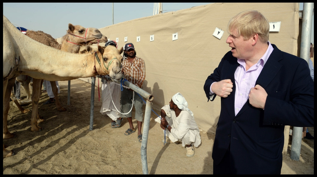 Boris Johnson Visits the Camel Races in Doha 33788