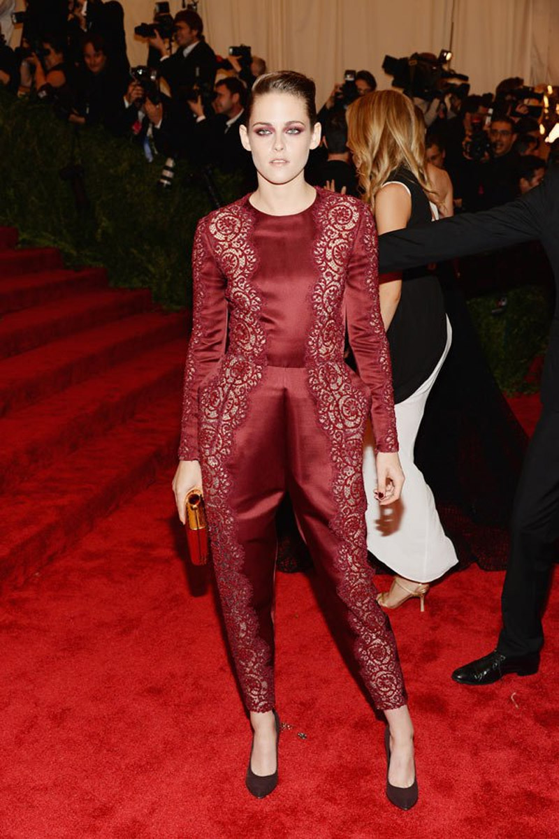 Kristen Stewart, in Stella McCartney, attend the Costume Institute Gala for 'Punk: Chaos Couture' exhibition at the Metropolitan Museum of Art on May 6, 2013 in New York City. (Getty) 34592