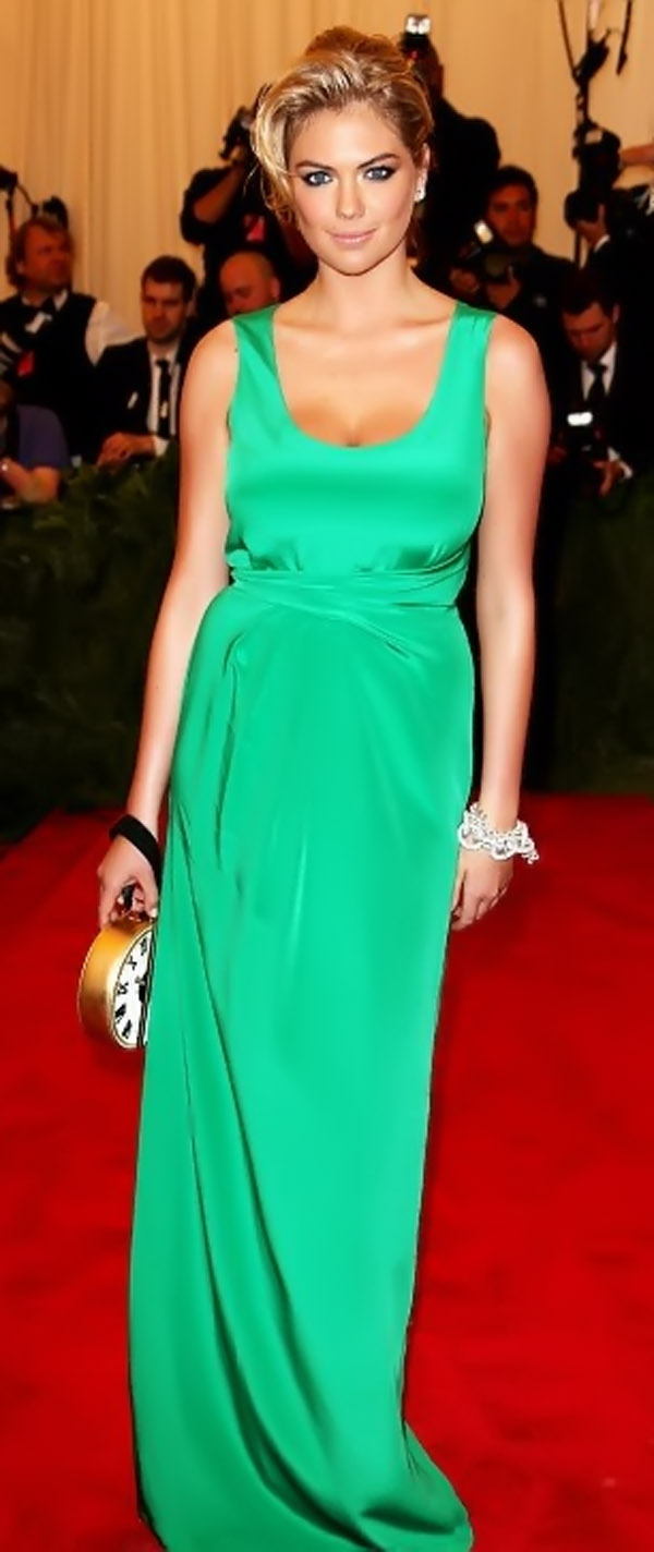 Kate wore a green silk solemn festivals at the Met in New York on Tuesday night 35379