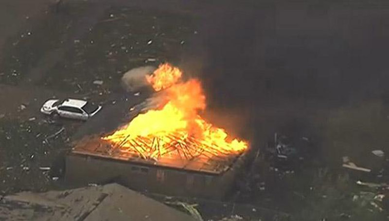 A fire broke out in the rubble left a tornado in Moore, Oklahoma 41175