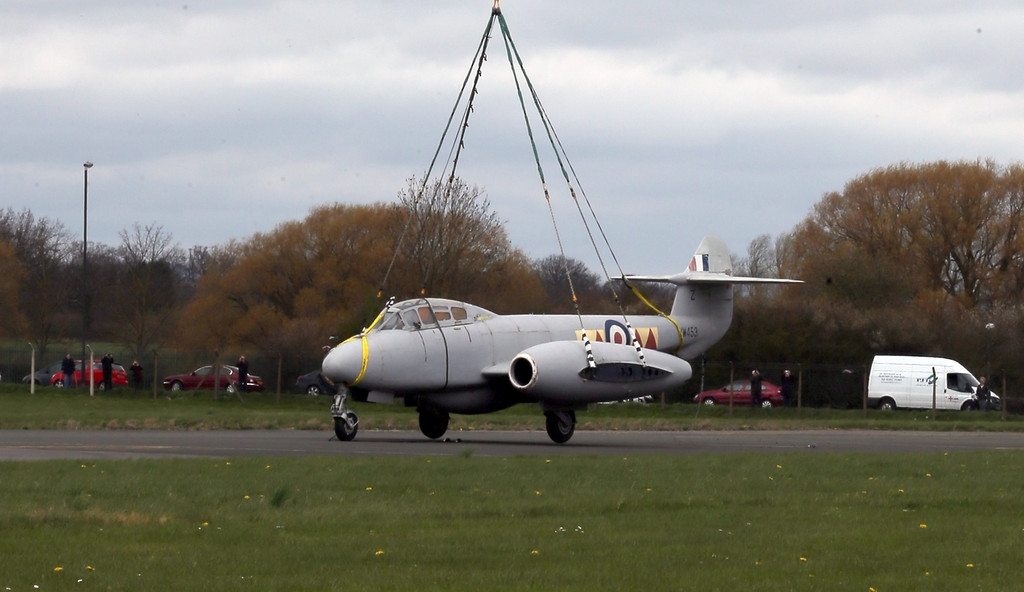 RAF Deliver Meteor Jet to the Jet Age Museum 42461