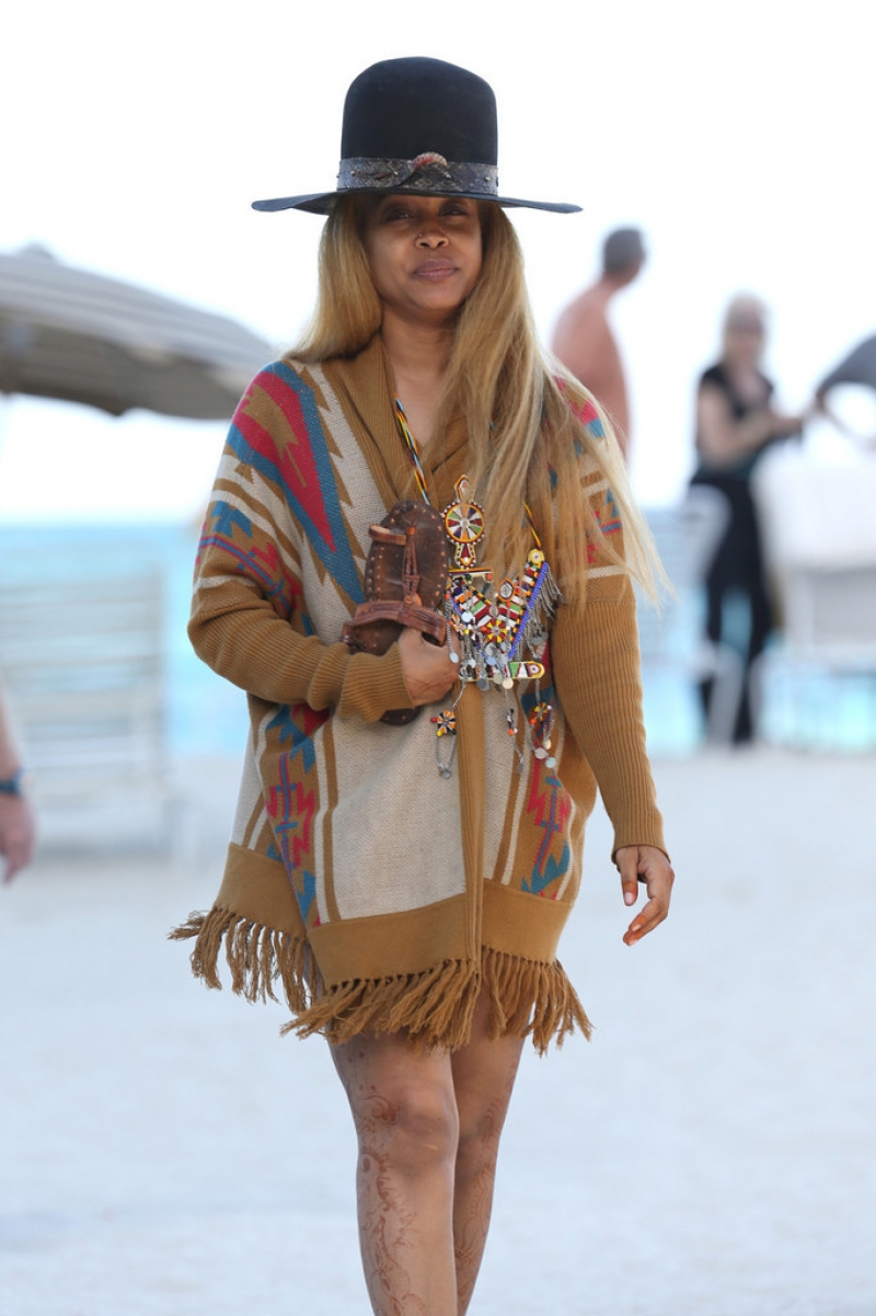 Erykah Badu Hits the Beach 42620