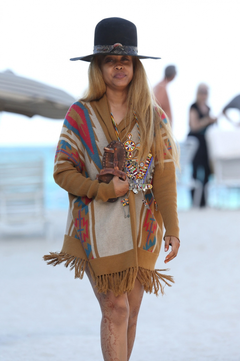 Erykah Badu Hits the Beach 42621