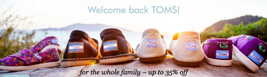 Up to 35% Off TOMS For the Whole Family = Great Deals on Shoes, Boots & Eyewear 45082